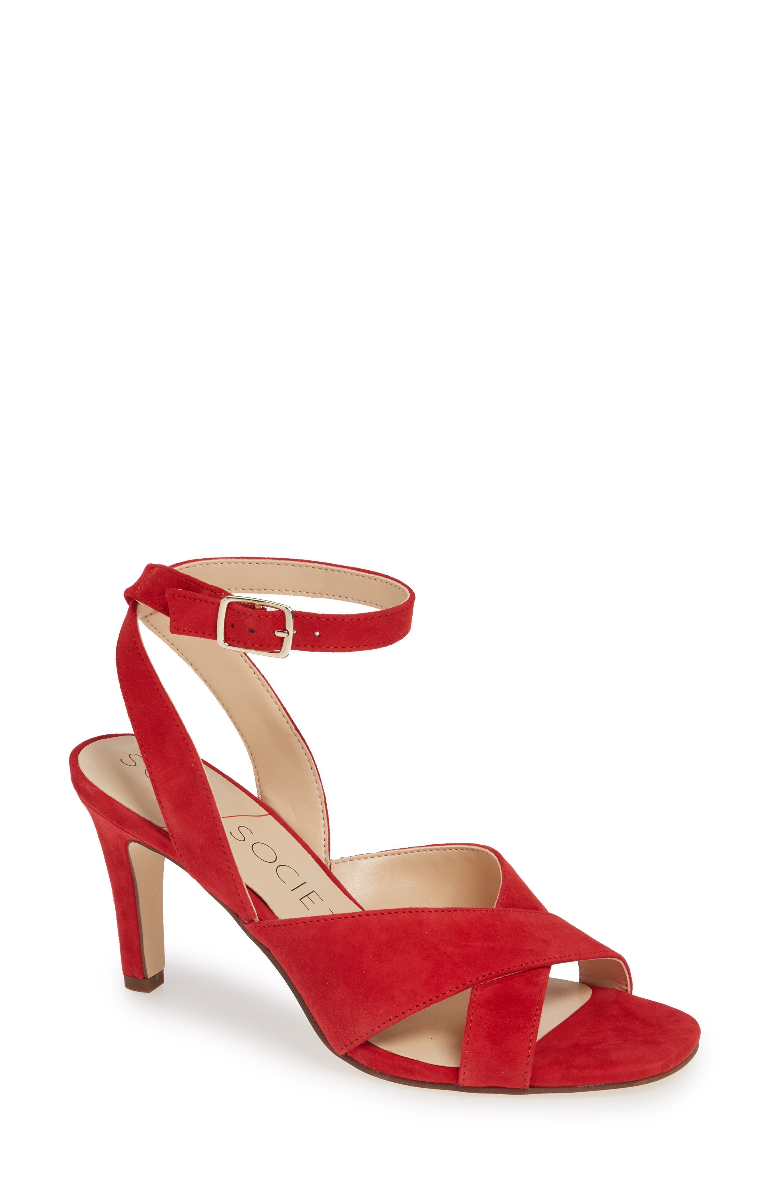 Sole Society Cassidea Ankle Strap Sandal, Red