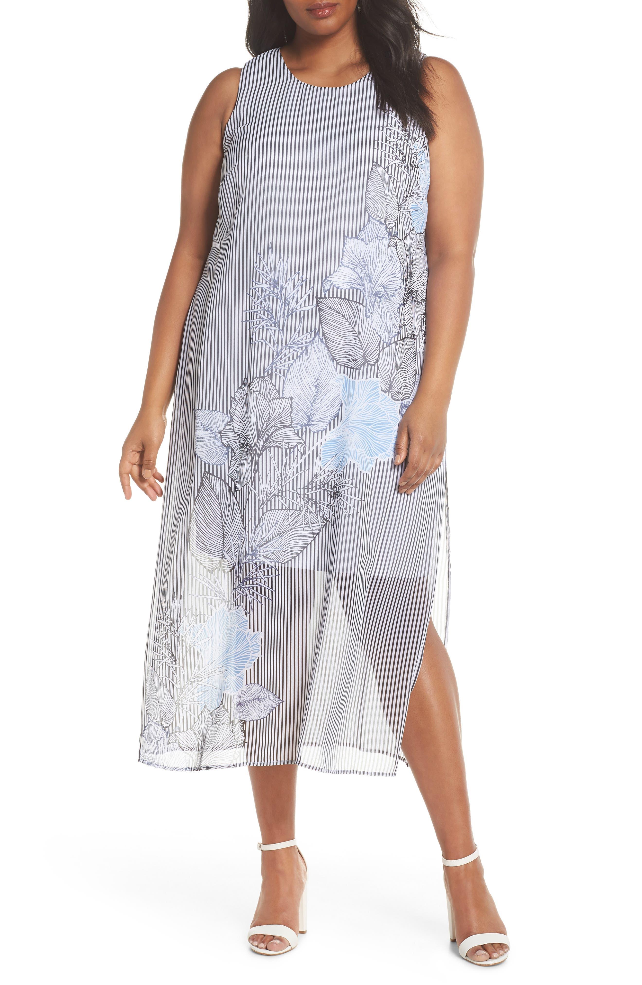 Island Floral Chiffon Maxi Dress,                             Main thumbnail 1, color,                             010