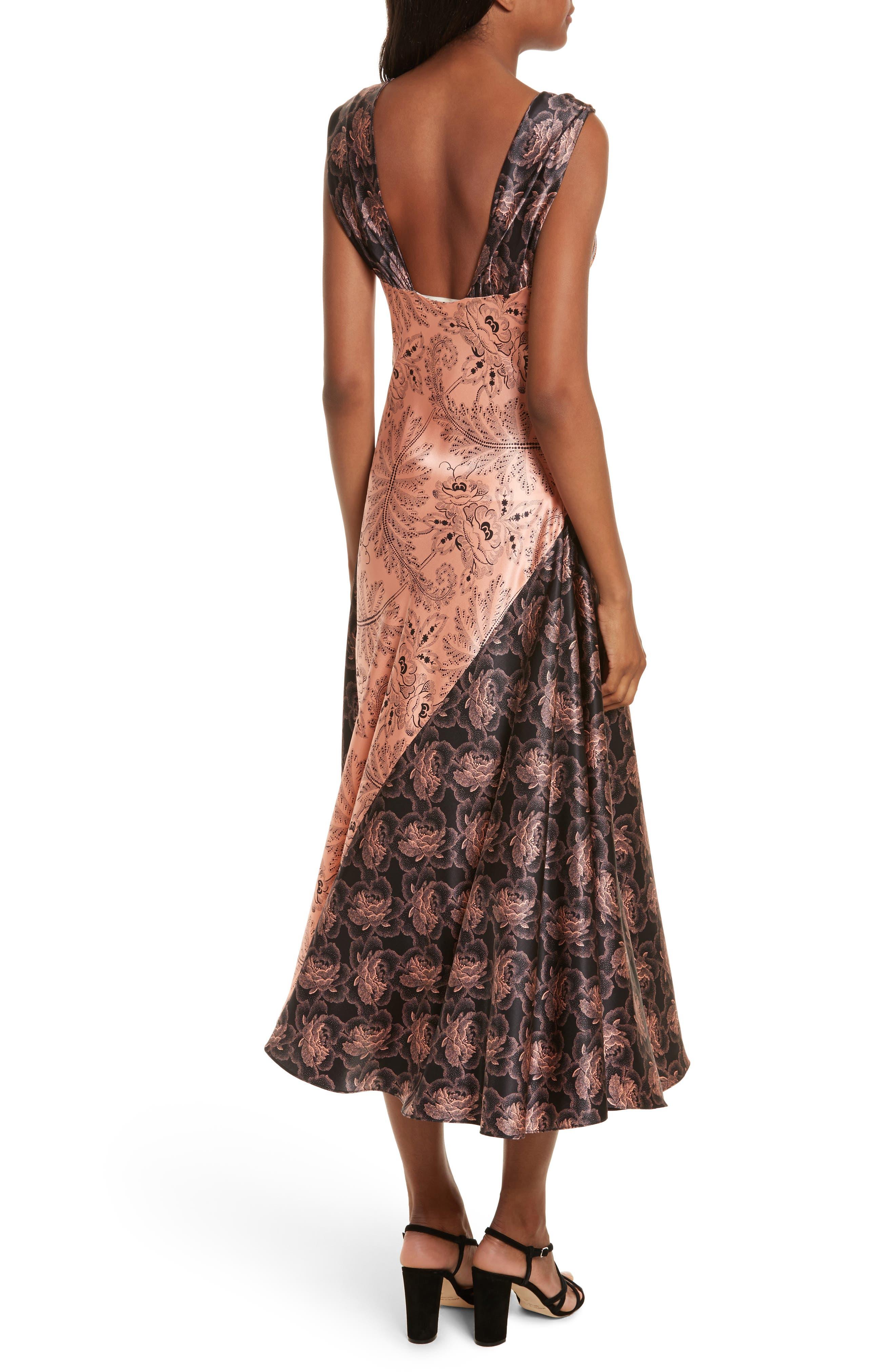 Diane von Furstenberg Draped Mixed Floral Midi Dress,                             Alternate thumbnail 2, color,                             654