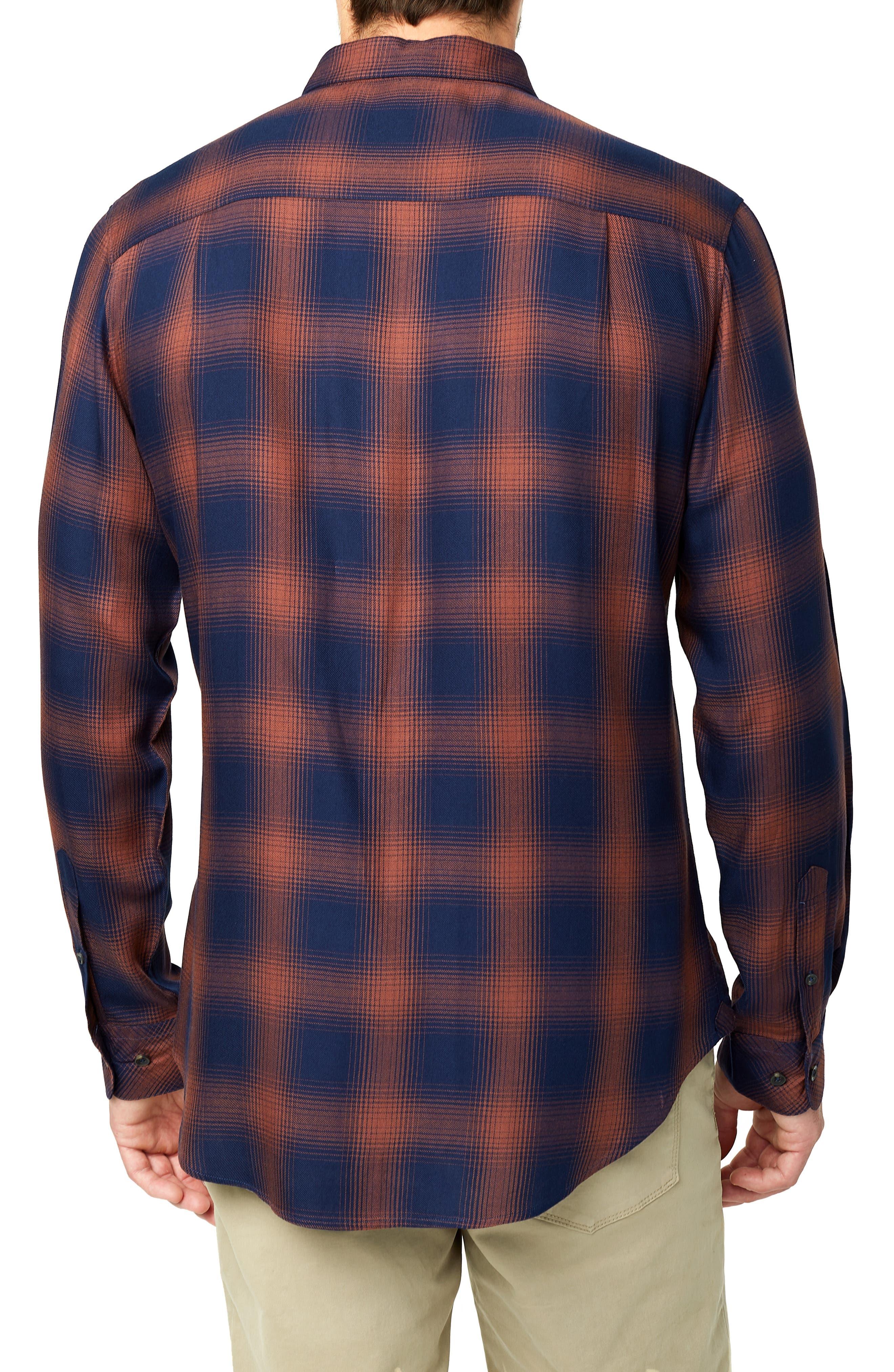 Ewan Trim Fit Flannel Shirt,                             Alternate thumbnail 3, color,                             NAVY CHESTNUT