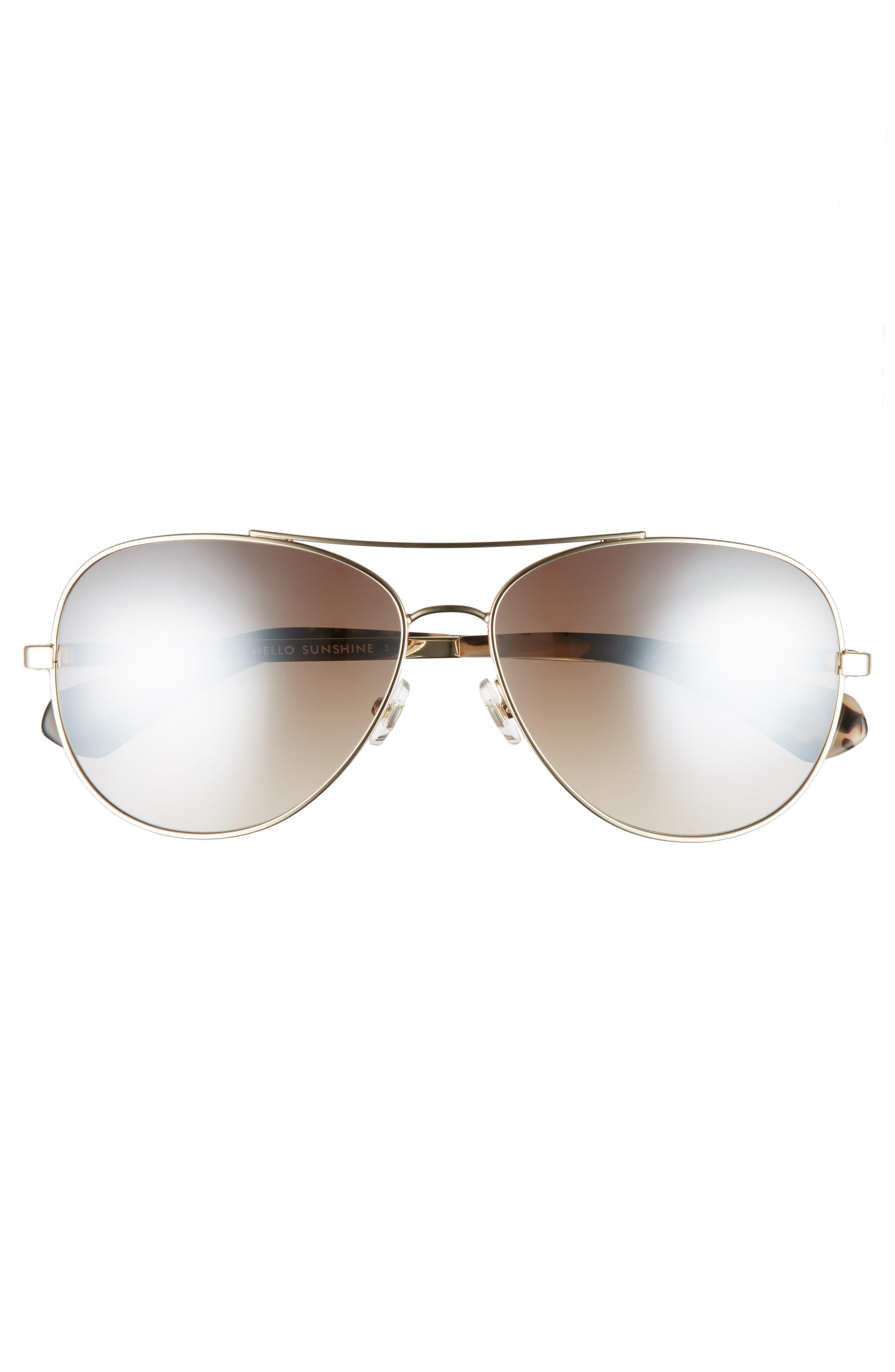 avaline 58mm aviator sunglasses,                             Alternate thumbnail 3, color,                             GOLD HAVANA