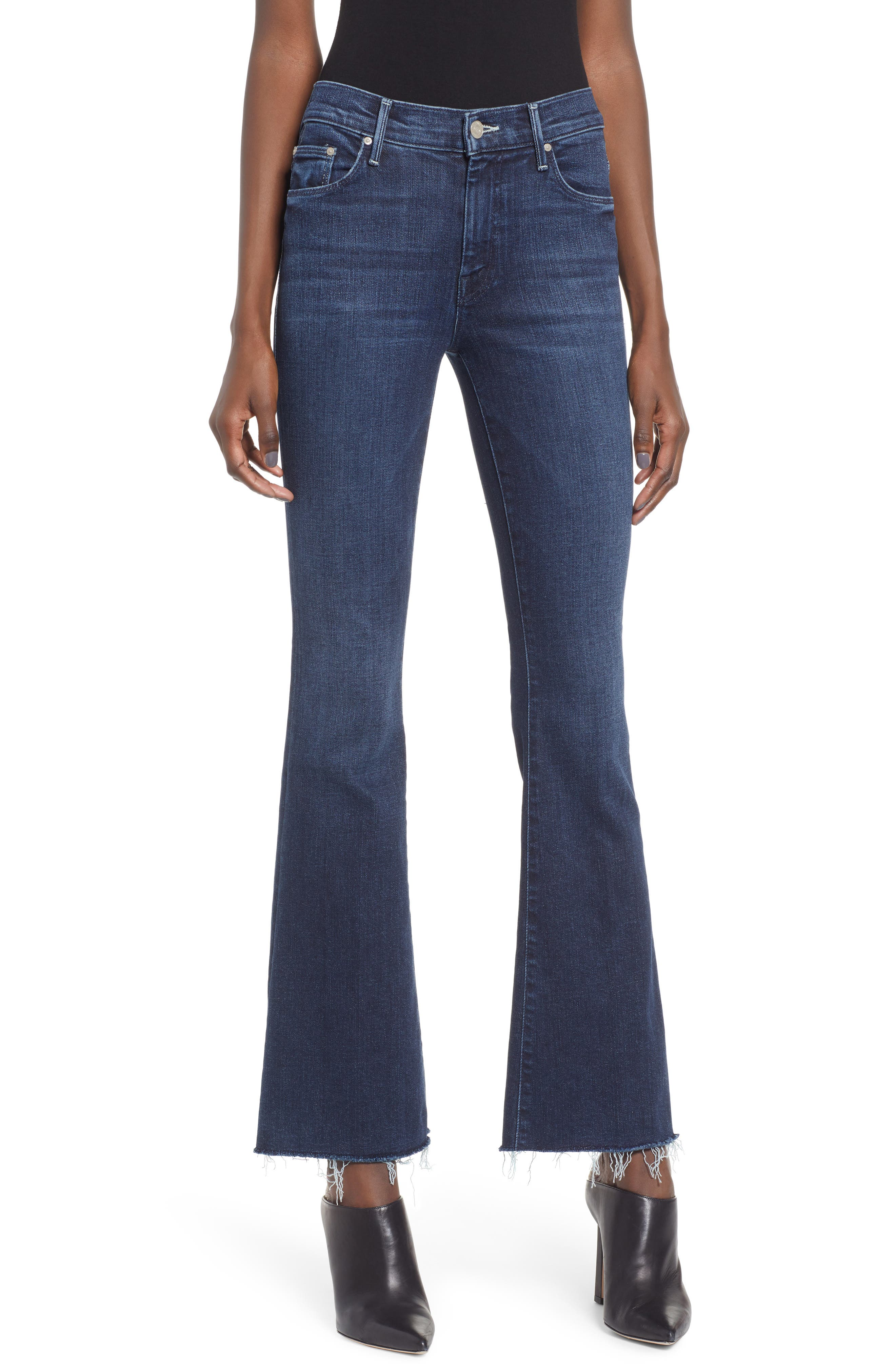 Frayed Bootcut Jeans, Main, color, DISCO DOLLS