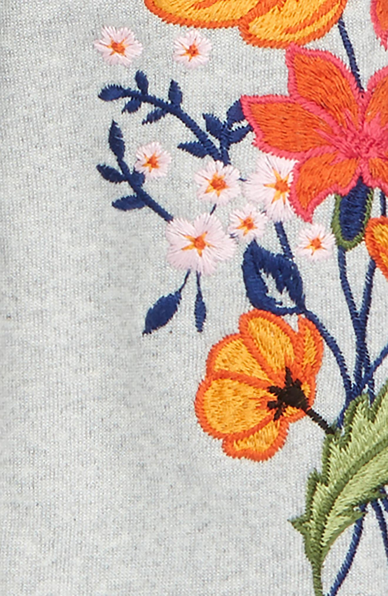 Tie Front Embroidered Sweatshirt,                             Alternate thumbnail 2, color,                             036
