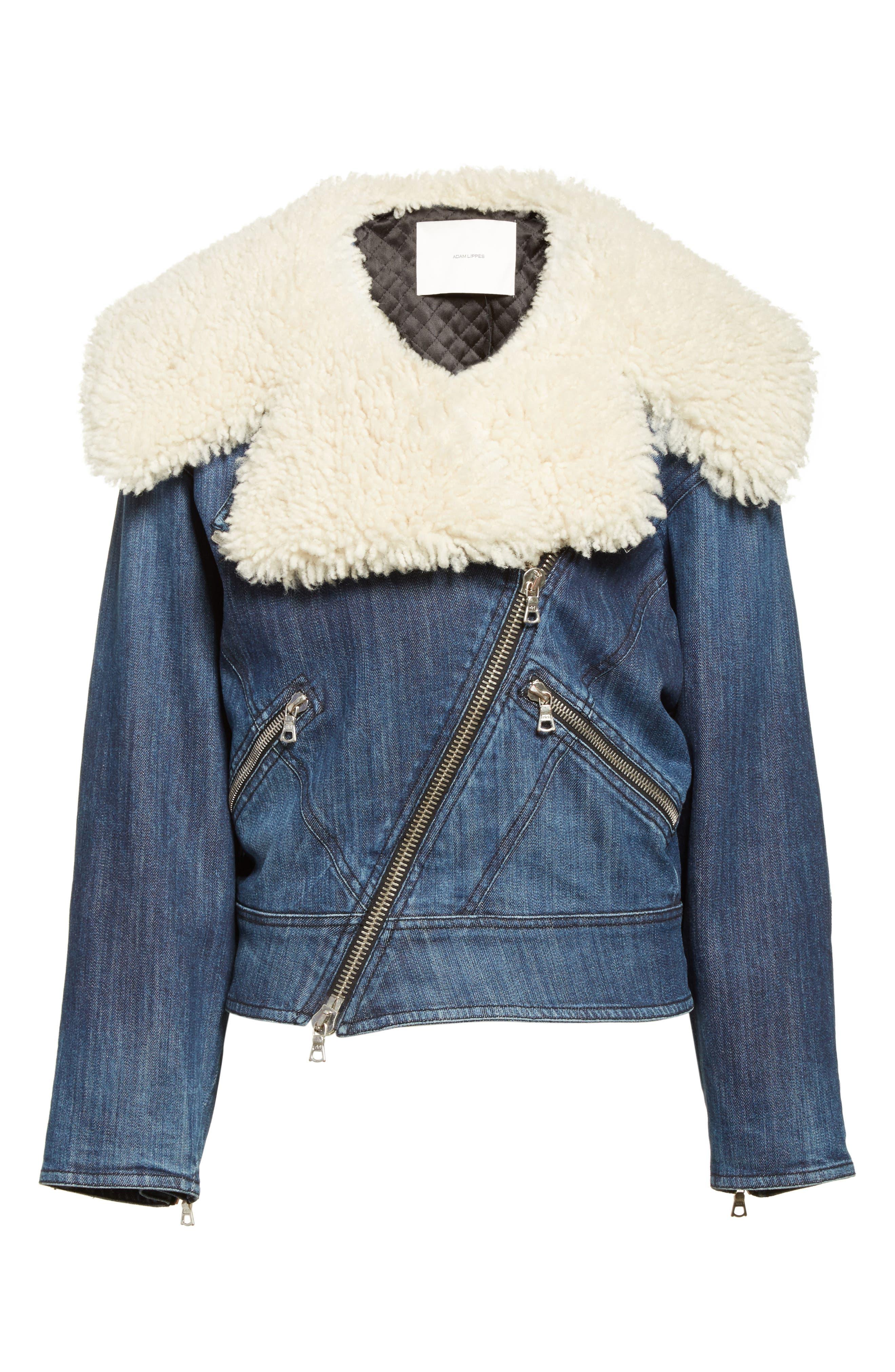 Stretch Denim Moto Jacket with Removable Genuine Lamb Fur Collar,                             Alternate thumbnail 5, color,                             403