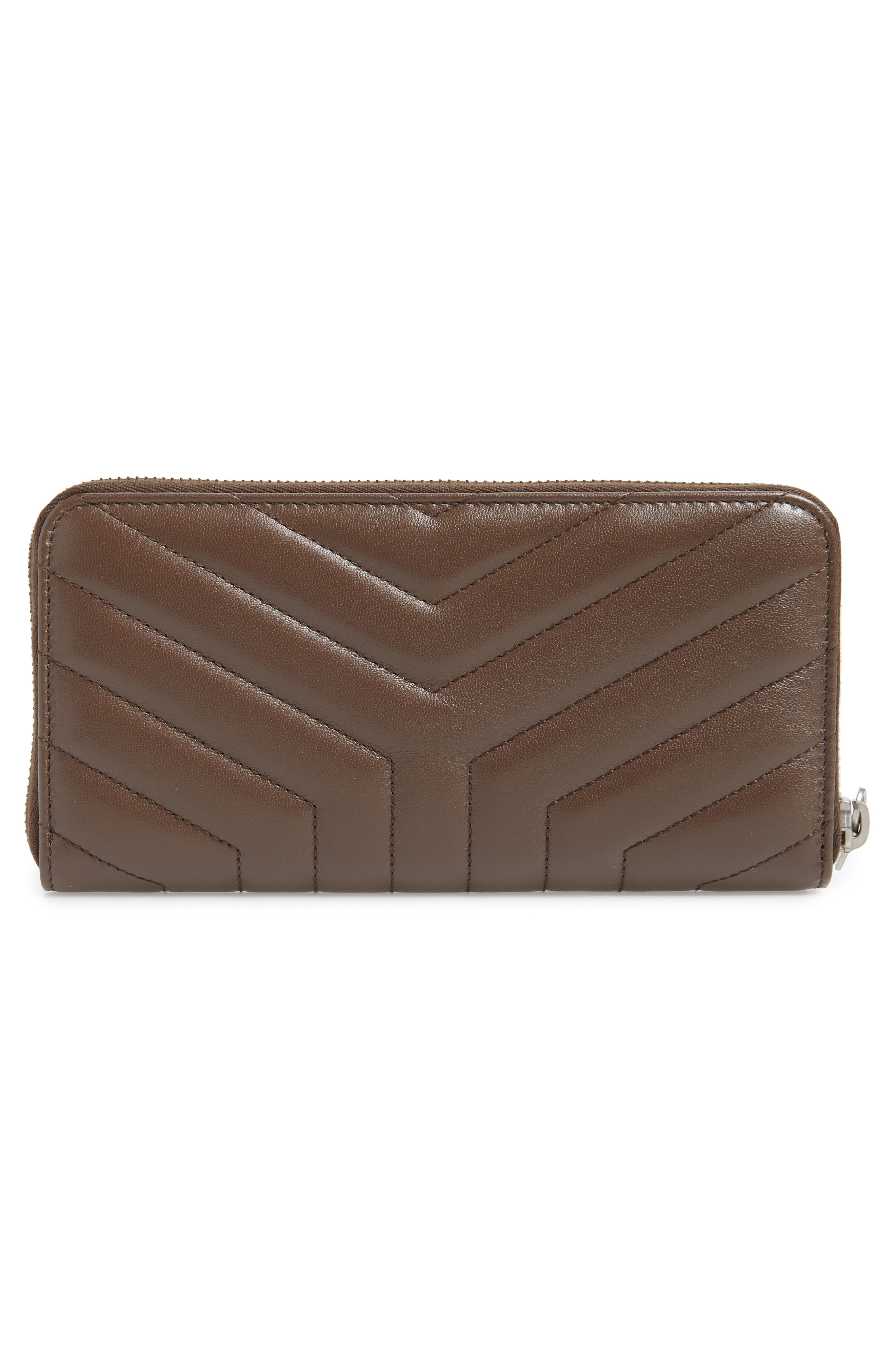 Loulou Matelassé Leather Zip-Around Wallet,                             Alternate thumbnail 3, color,                             FAGGIO