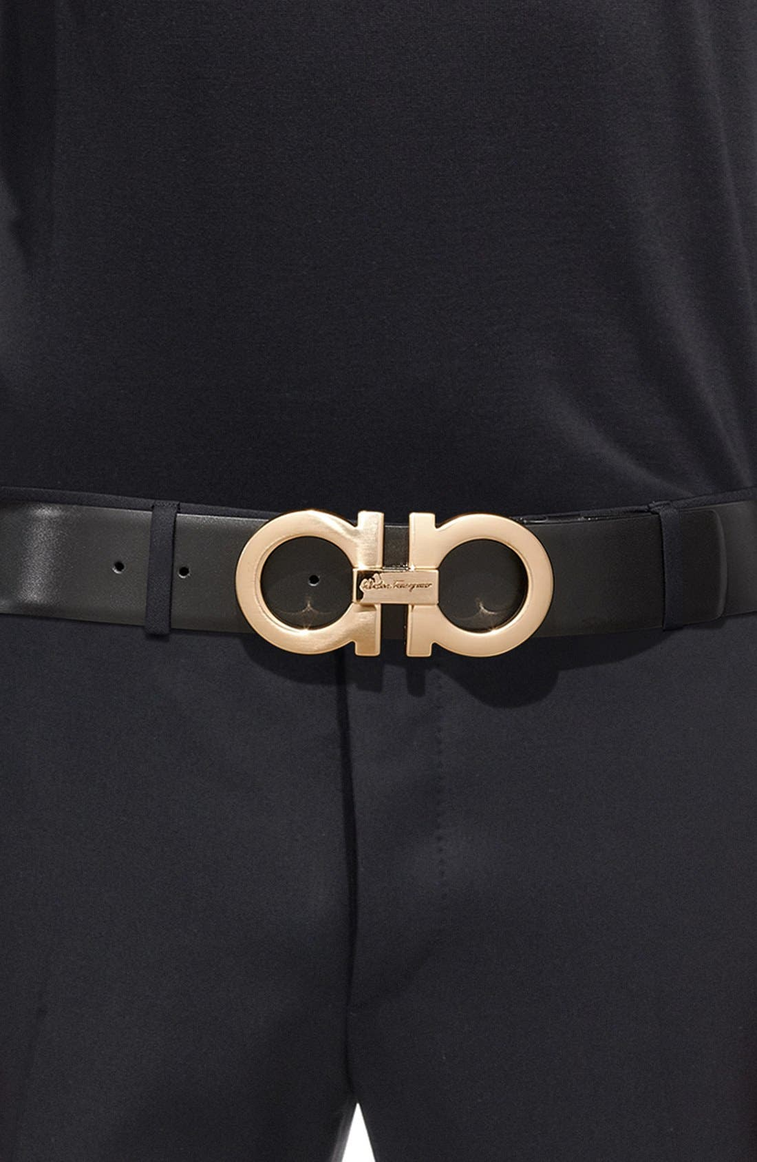Reversible Calfskin Belt,                             Alternate thumbnail 5, color,                             001