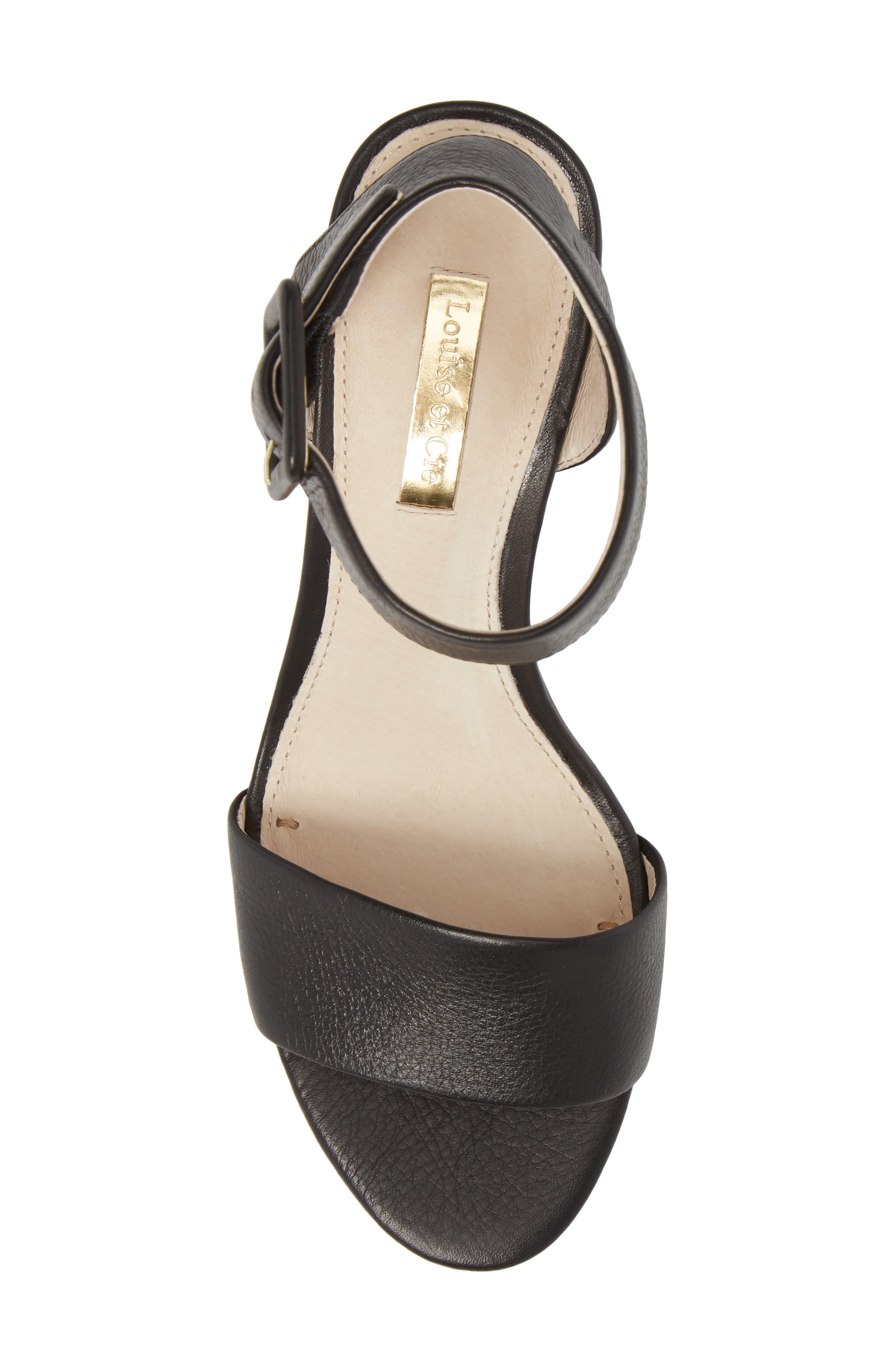 Punya Wedge Sandal,                             Alternate thumbnail 5, color,                             BLACK LEATHER