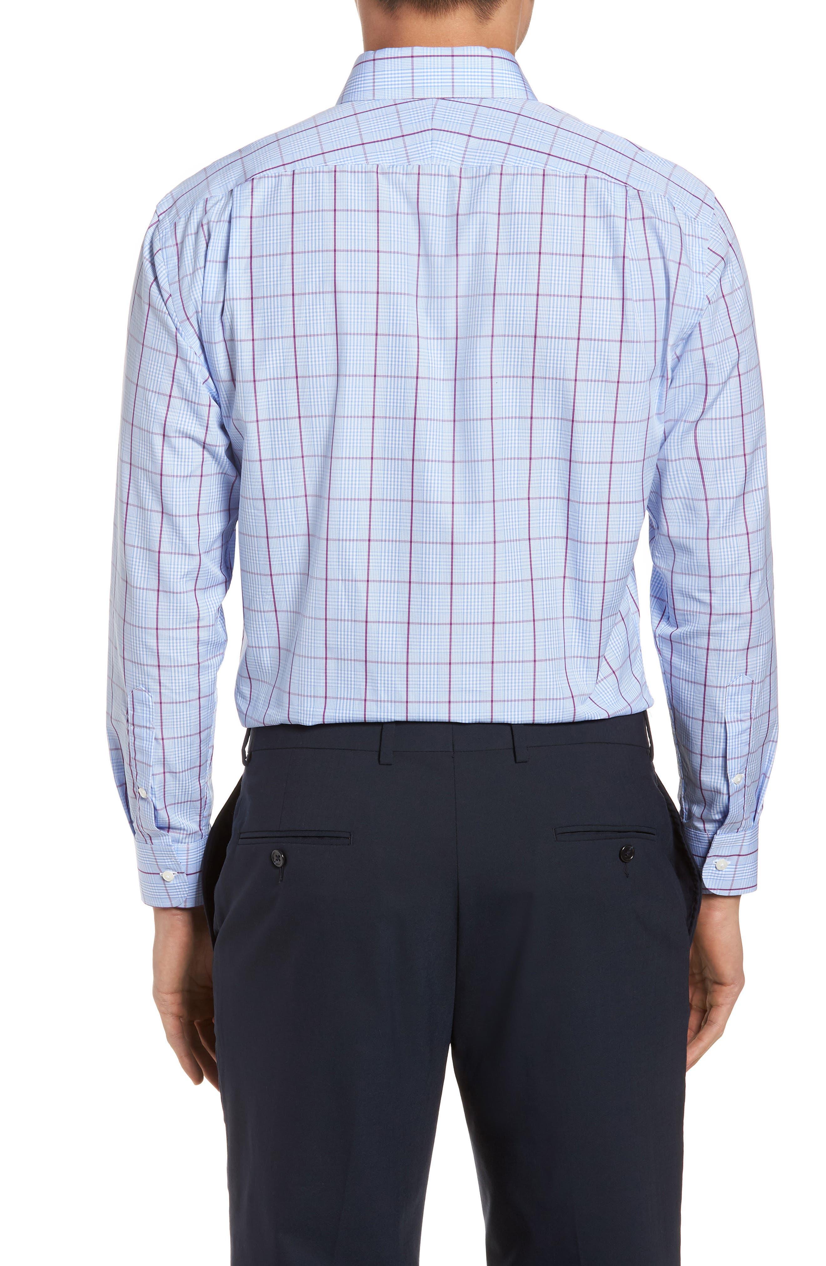Trim Fit Plaid Dress Shirt,                             Alternate thumbnail 3, color,                             530