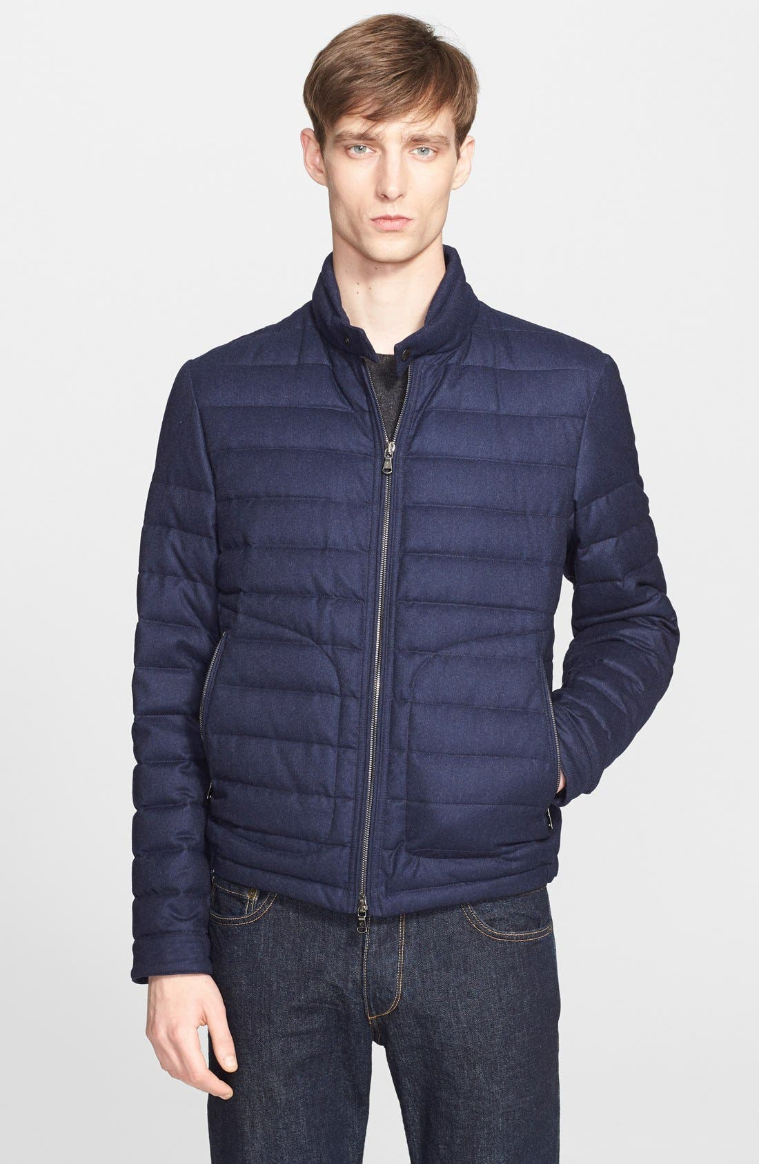 MONCLER,                             'Delabost' Quilted Wool Moto Jacket,                             Main thumbnail 1, color,                             402
