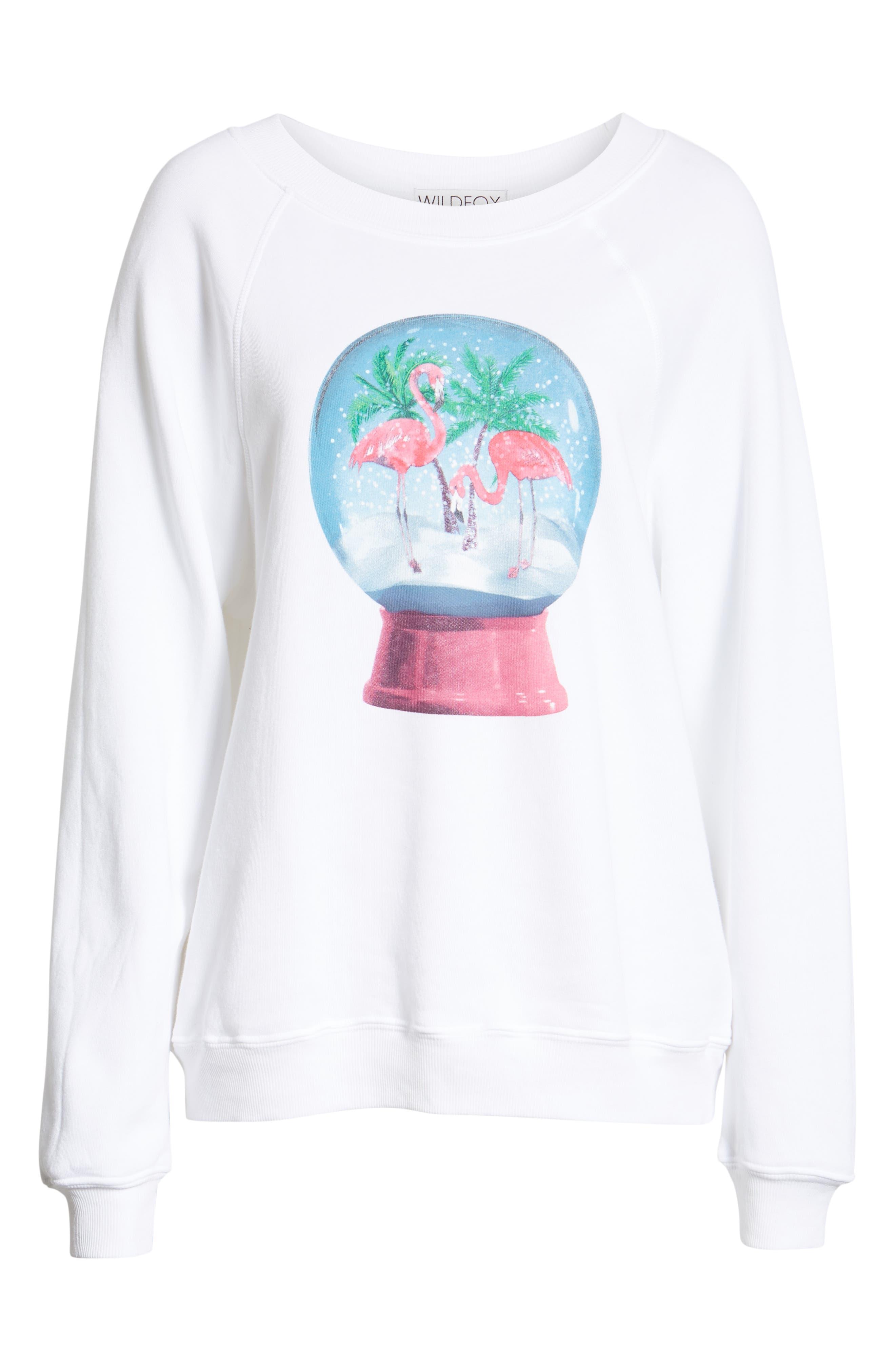Snowy Tropics Sommers Sweatshirt,                             Alternate thumbnail 6, color,                             CLEAN WHITE