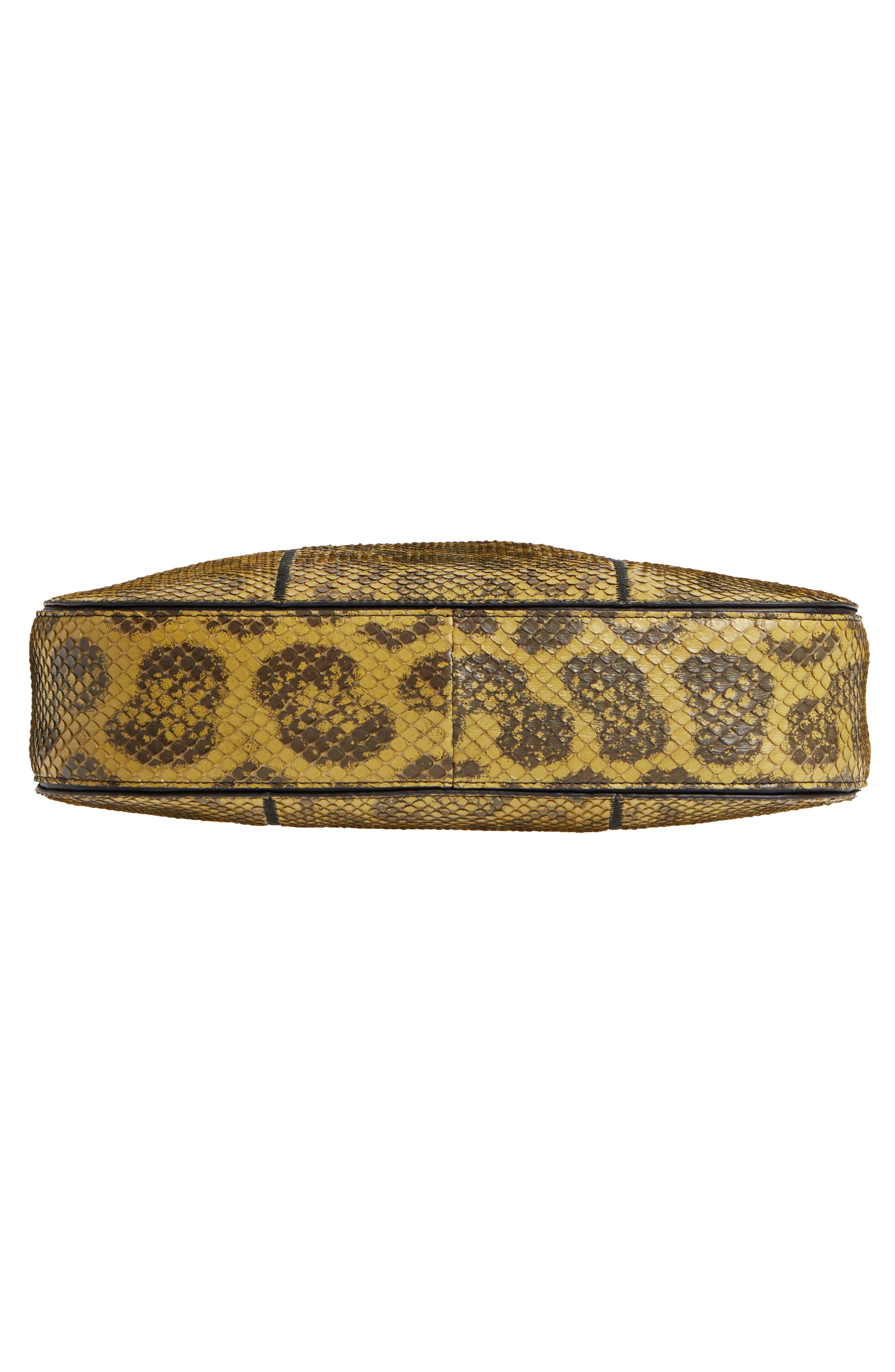 Small Loop Genuine Anaconda Snakeskin Leather Hobo,                             Alternate thumbnail 6, color,                             BLACKGOLD