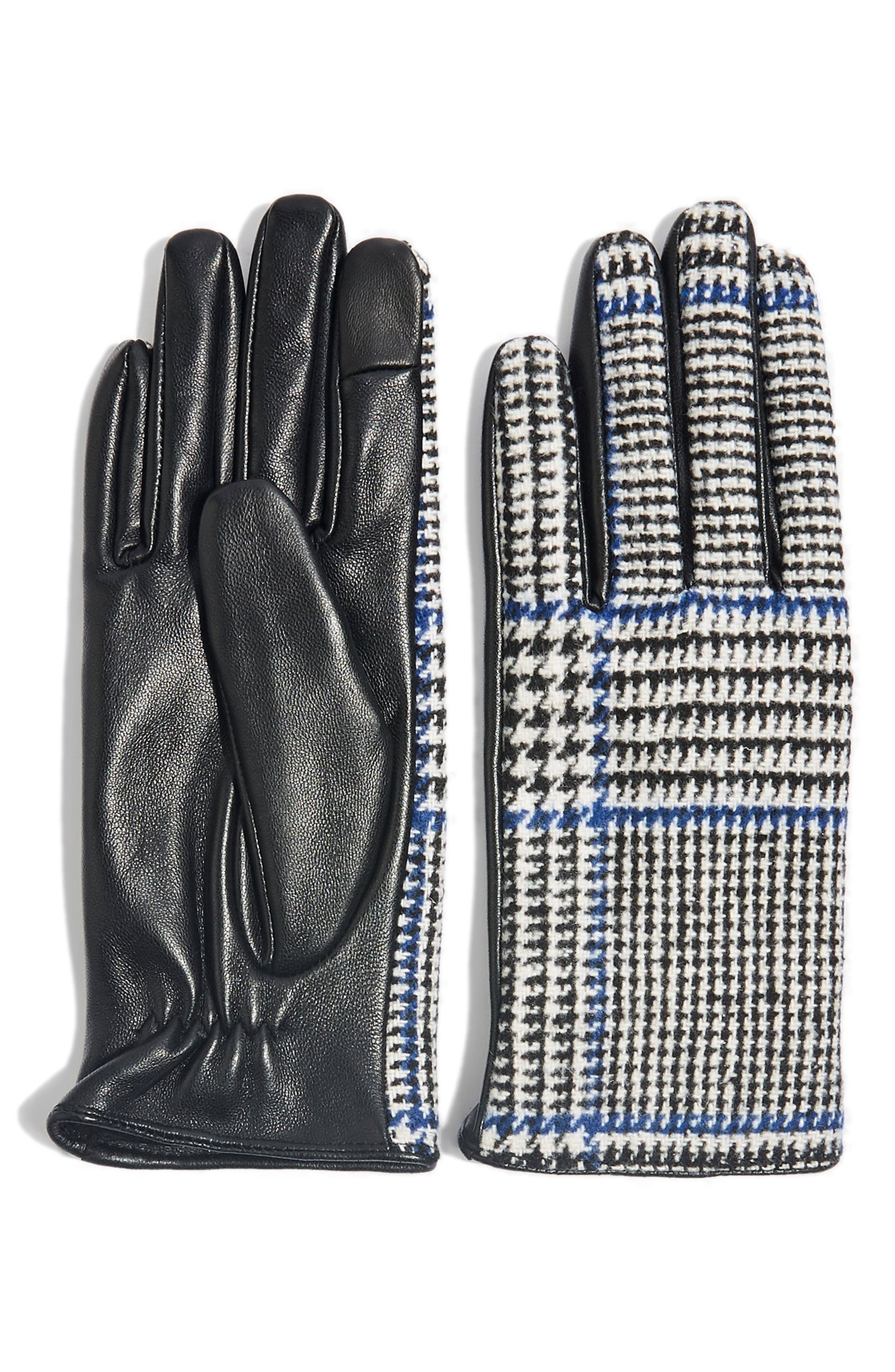 Houndstooth Faux Leather Touchscreen Gloves, Main, color, BLACK MULTI