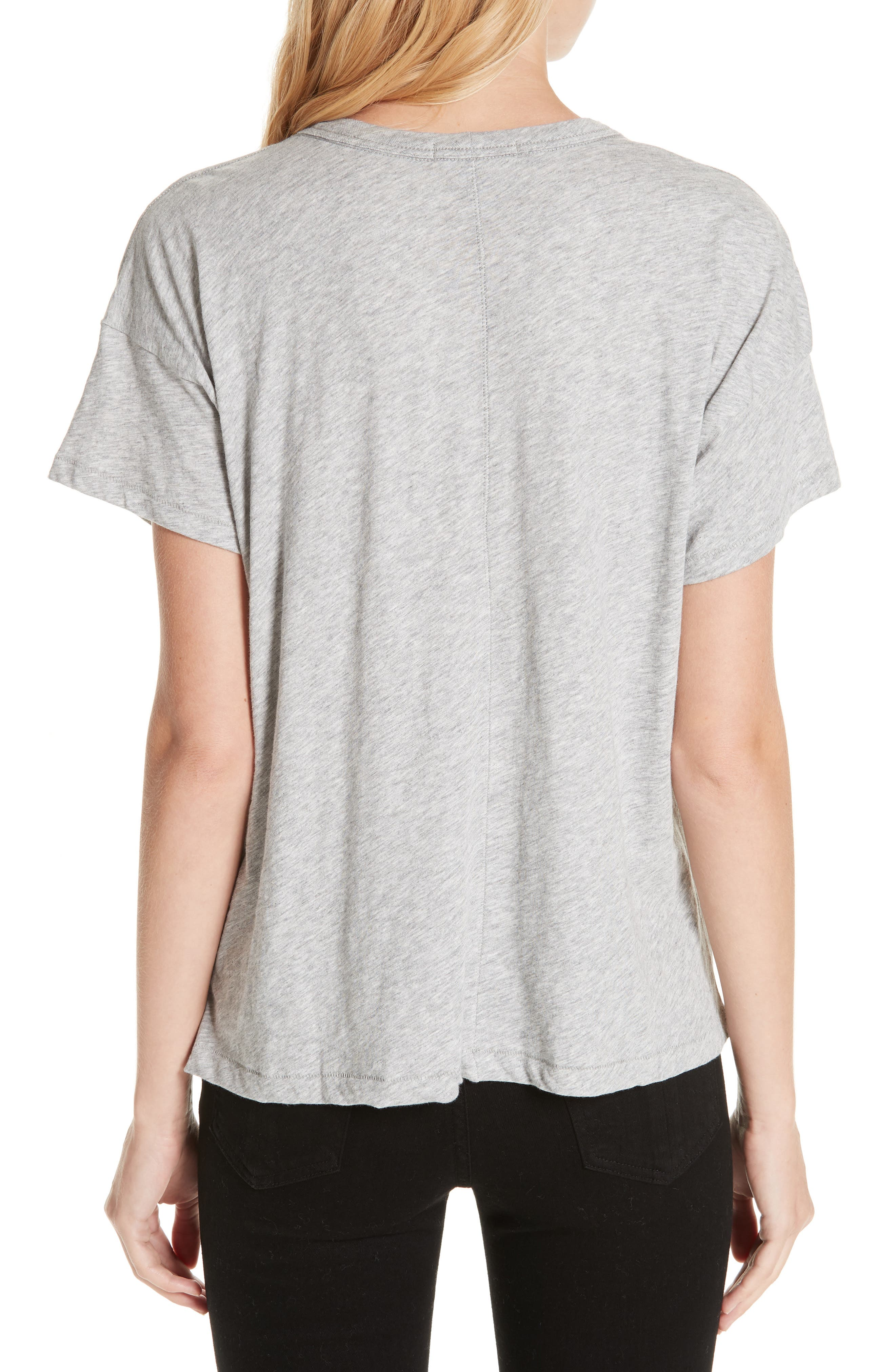 Bye Embroidered Tee,                             Alternate thumbnail 2, color,                             HEATHER GREY