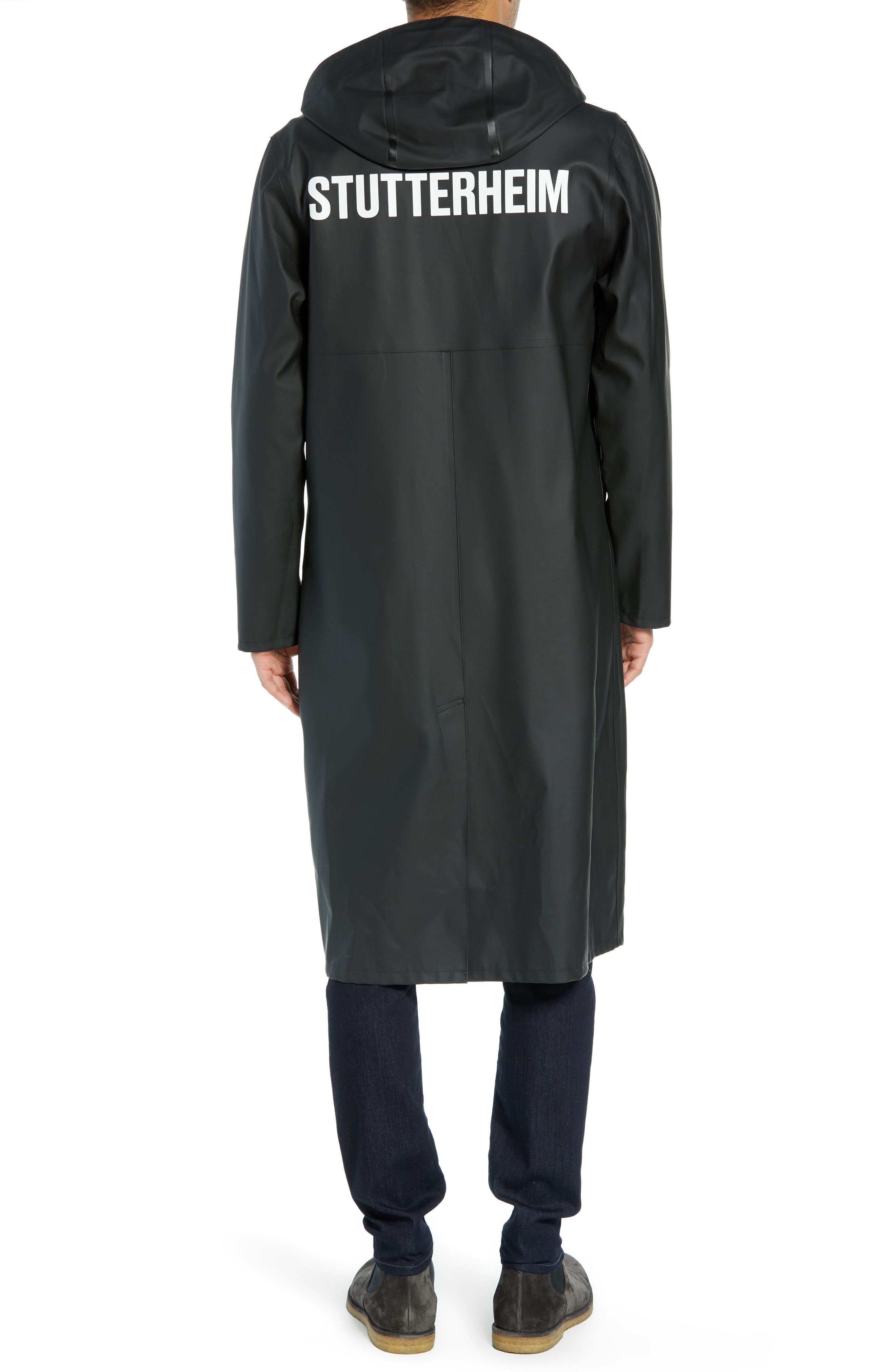 Long Logo Print Waterproof Raincoat,                             Alternate thumbnail 2, color,                             BLACK