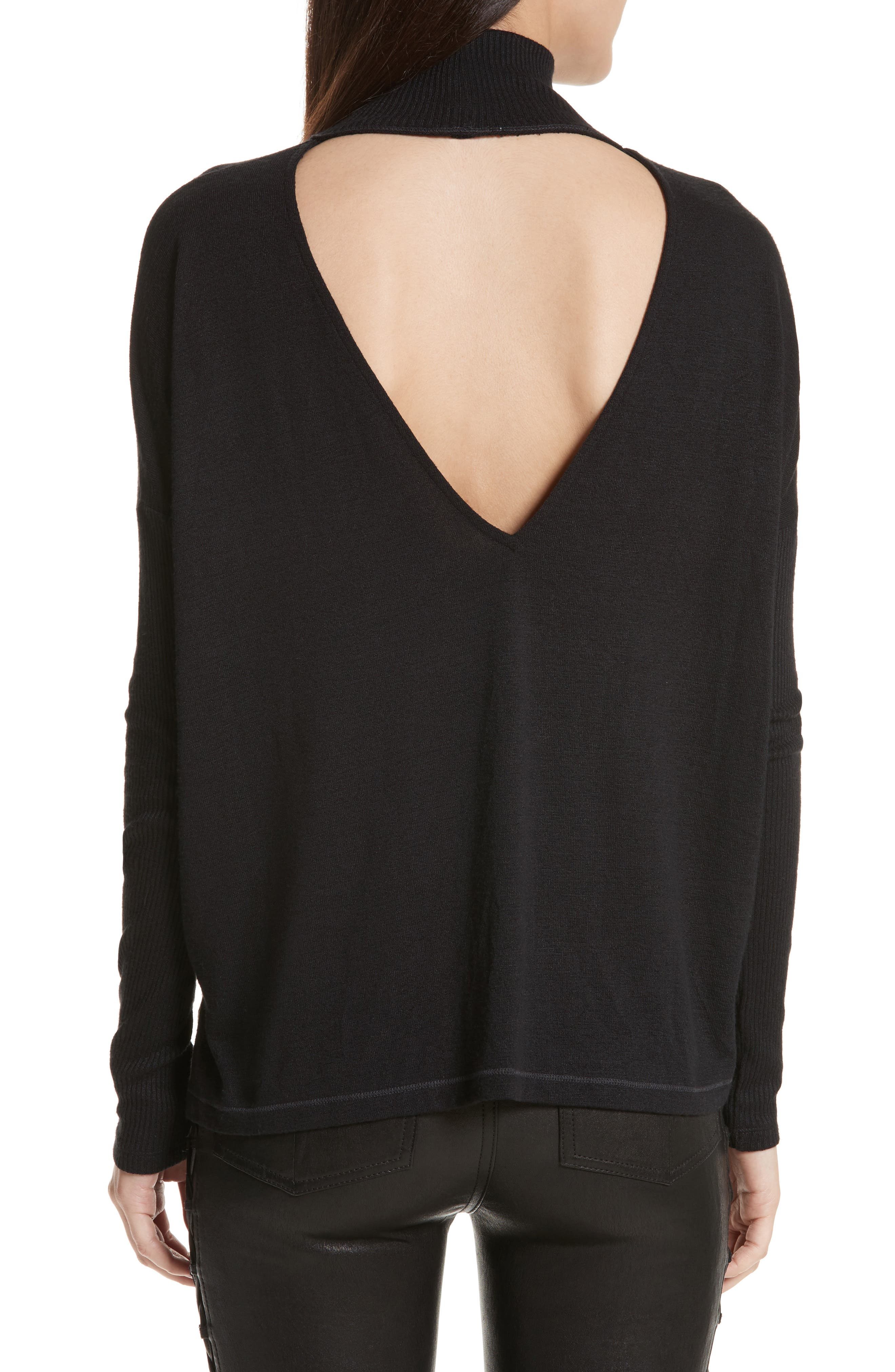 JEAN Amelie Back Cutout Turtleneck,                             Alternate thumbnail 2, color,                             001