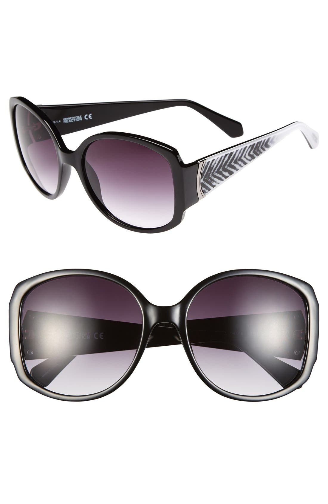 REACTION KENNETH COLE,                             Kenneth Cole Reaction 59mm Square Sunglasses,                             Main thumbnail 1, color,                             001