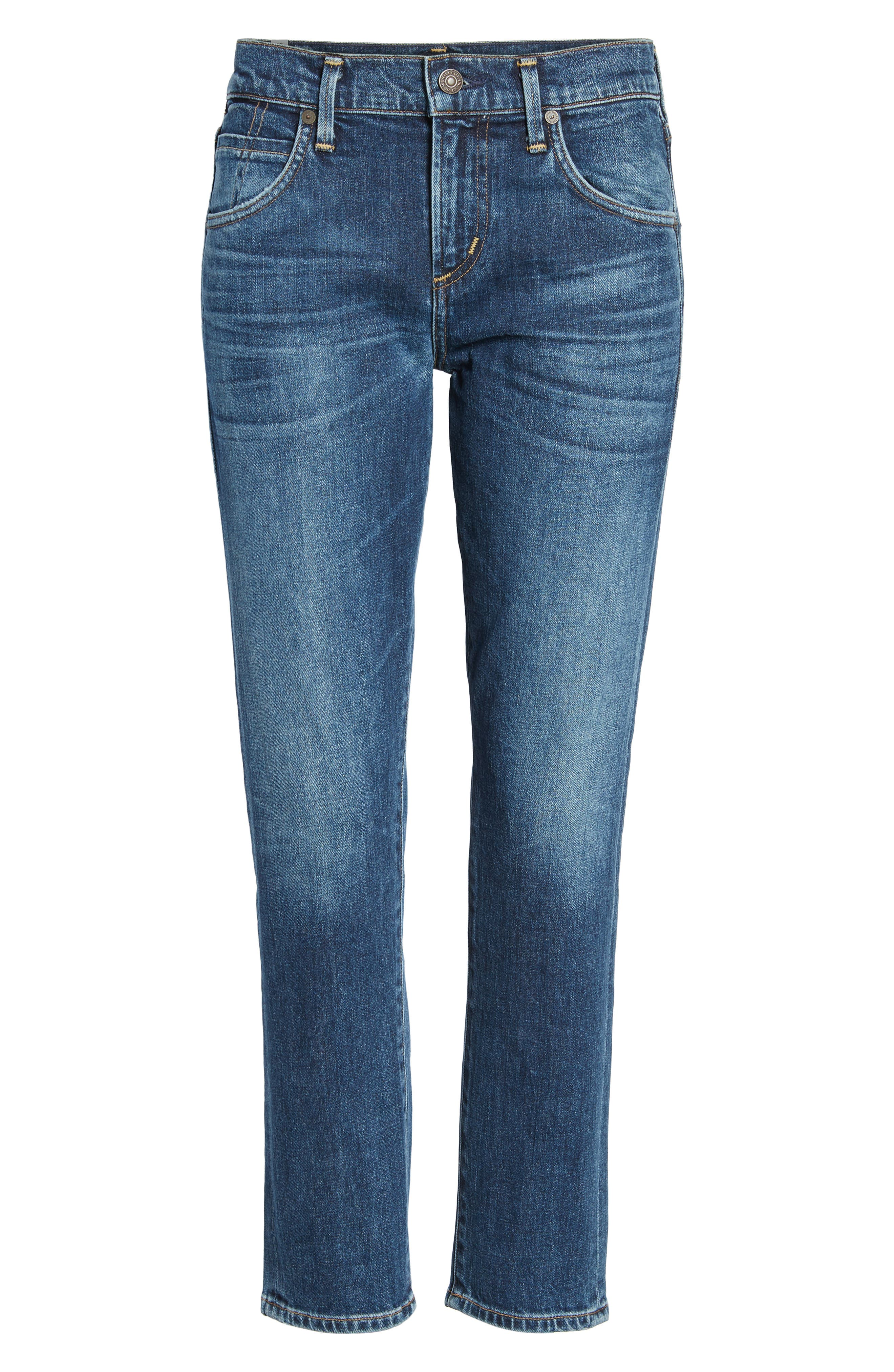 Elsa Crop Slim Jeans,                             Alternate thumbnail 6, color,                             428