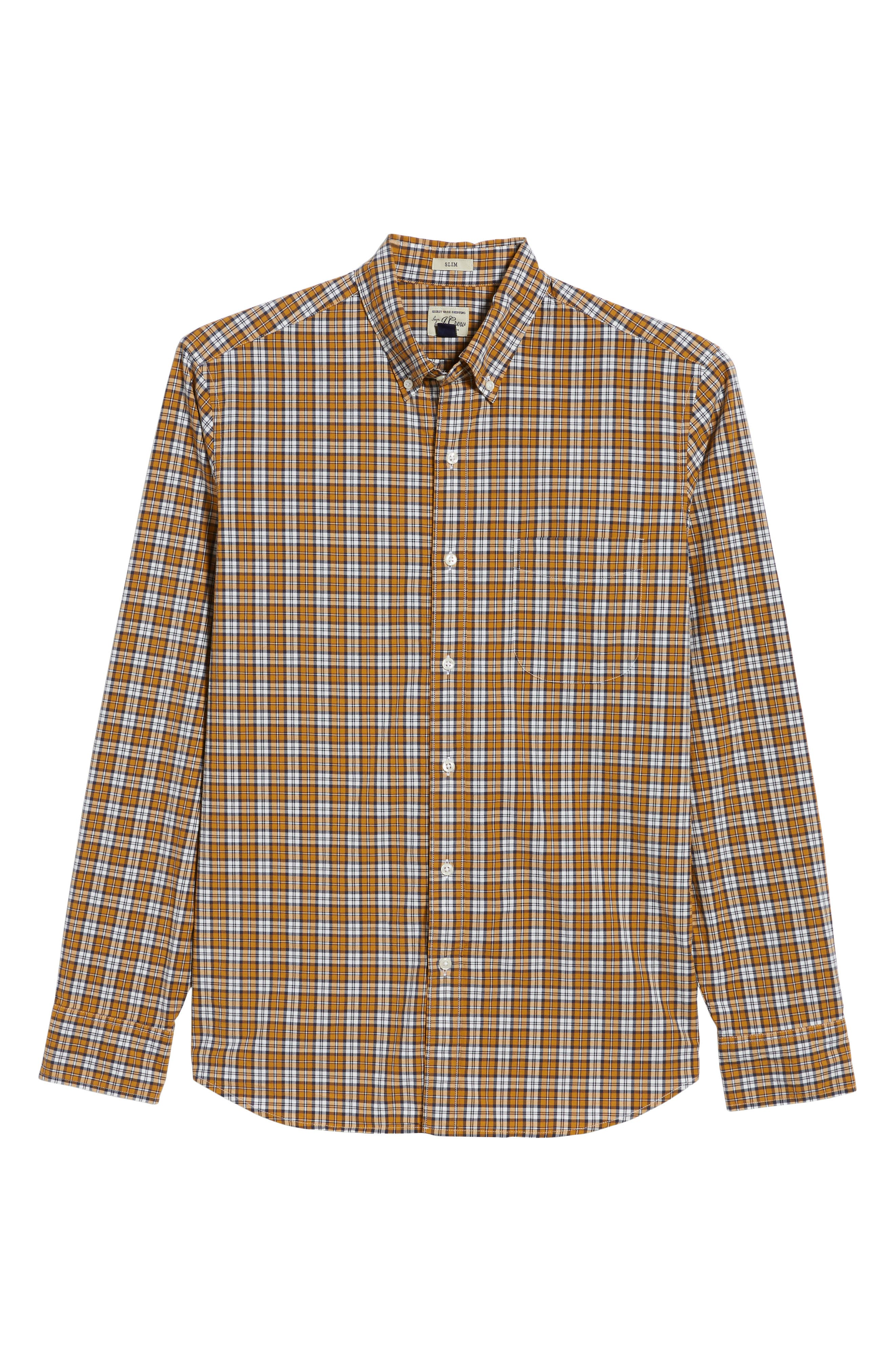Slim Fit Stretch Secret Wash Plaid Sport Shirt,                             Alternate thumbnail 6, color,