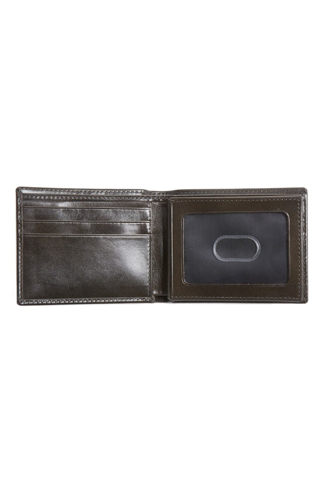 Flip Billfold Leather Wallet,                             Alternate thumbnail 2, color,                             CHARCOAL