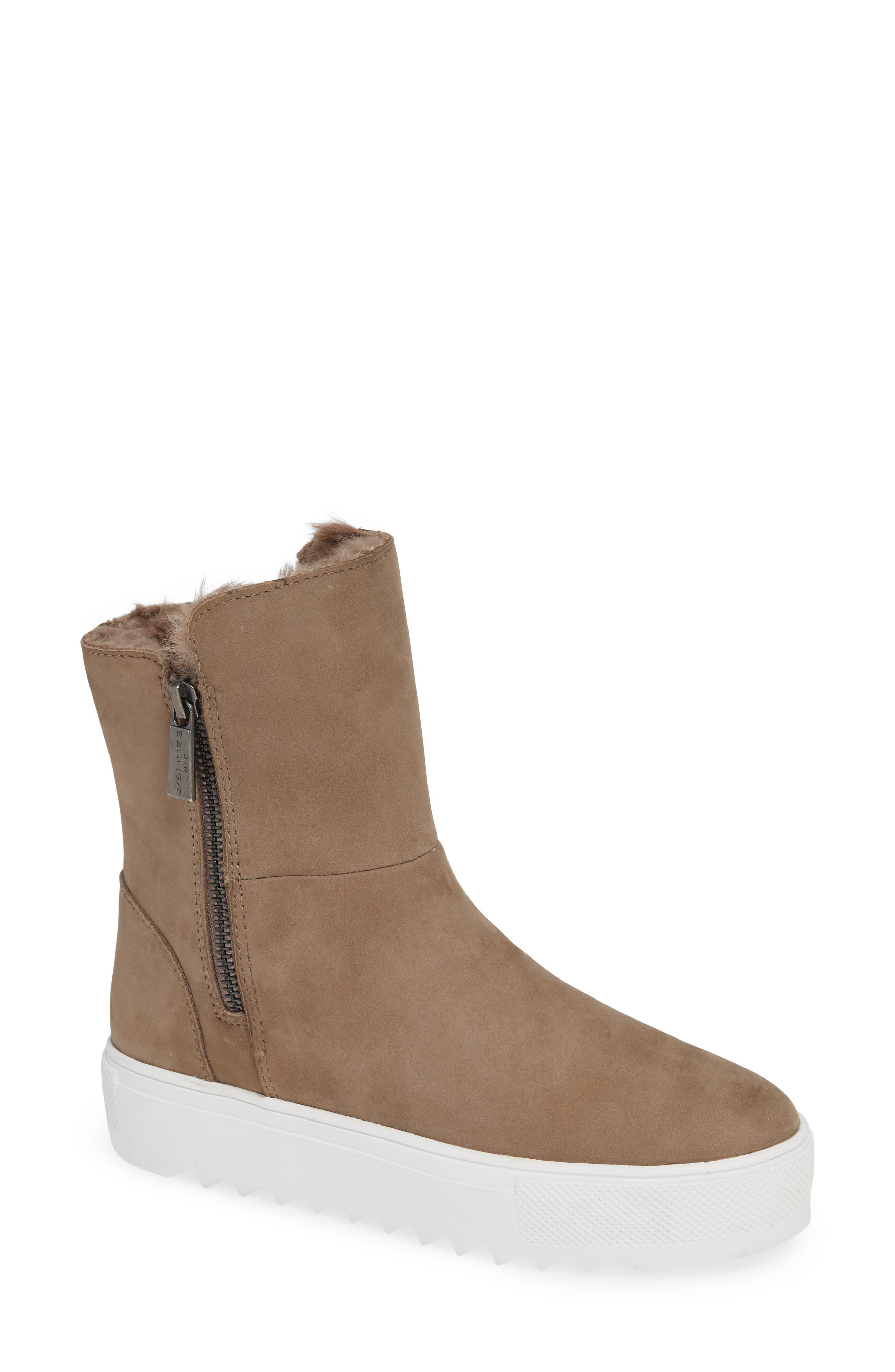 Jslides Selene Faux Fur Lined Waterproof Boot- Brown