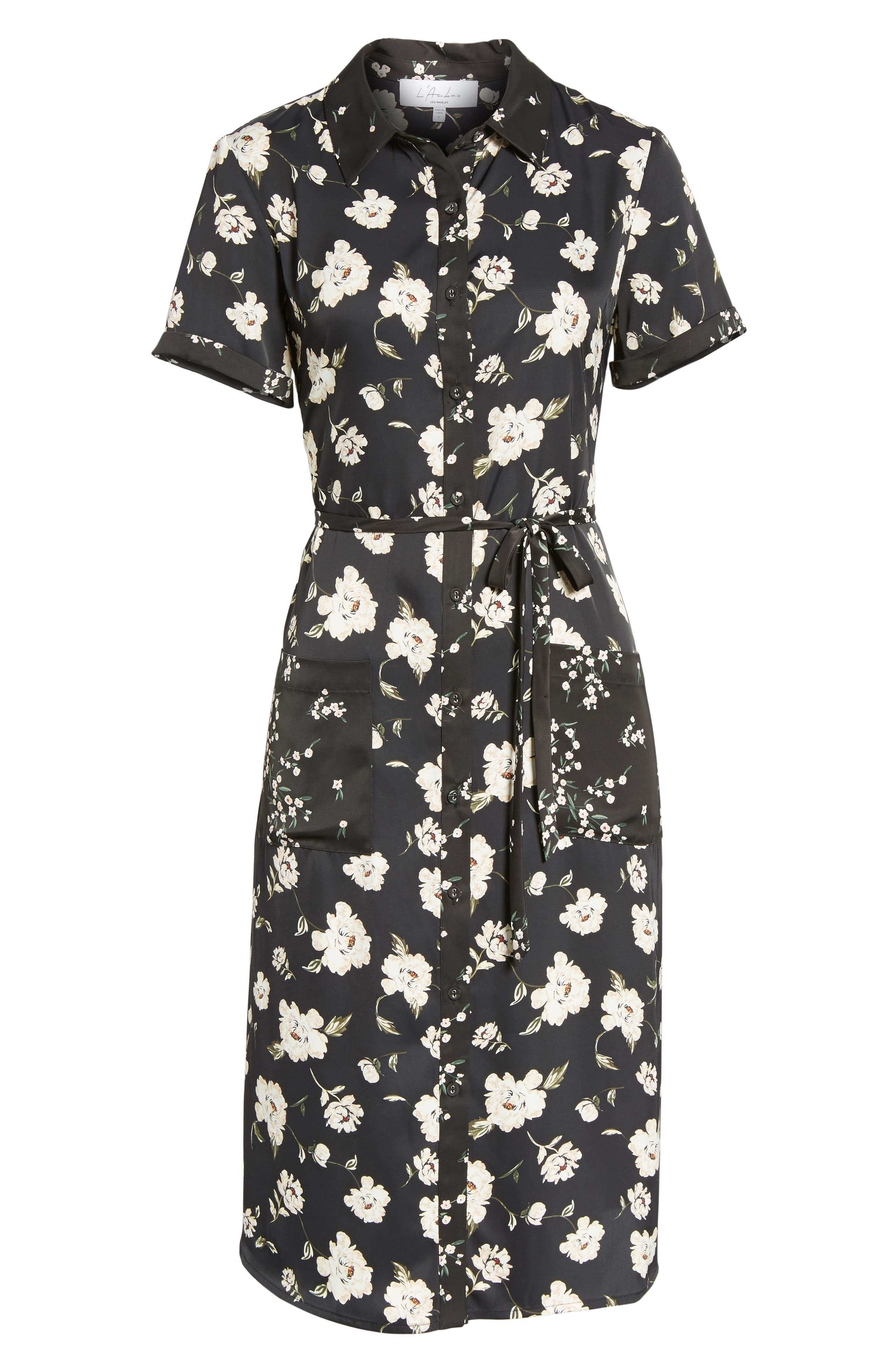 L'Academie The Shirt Dress Midi Dress,                             Alternate thumbnail 6, color,                             001