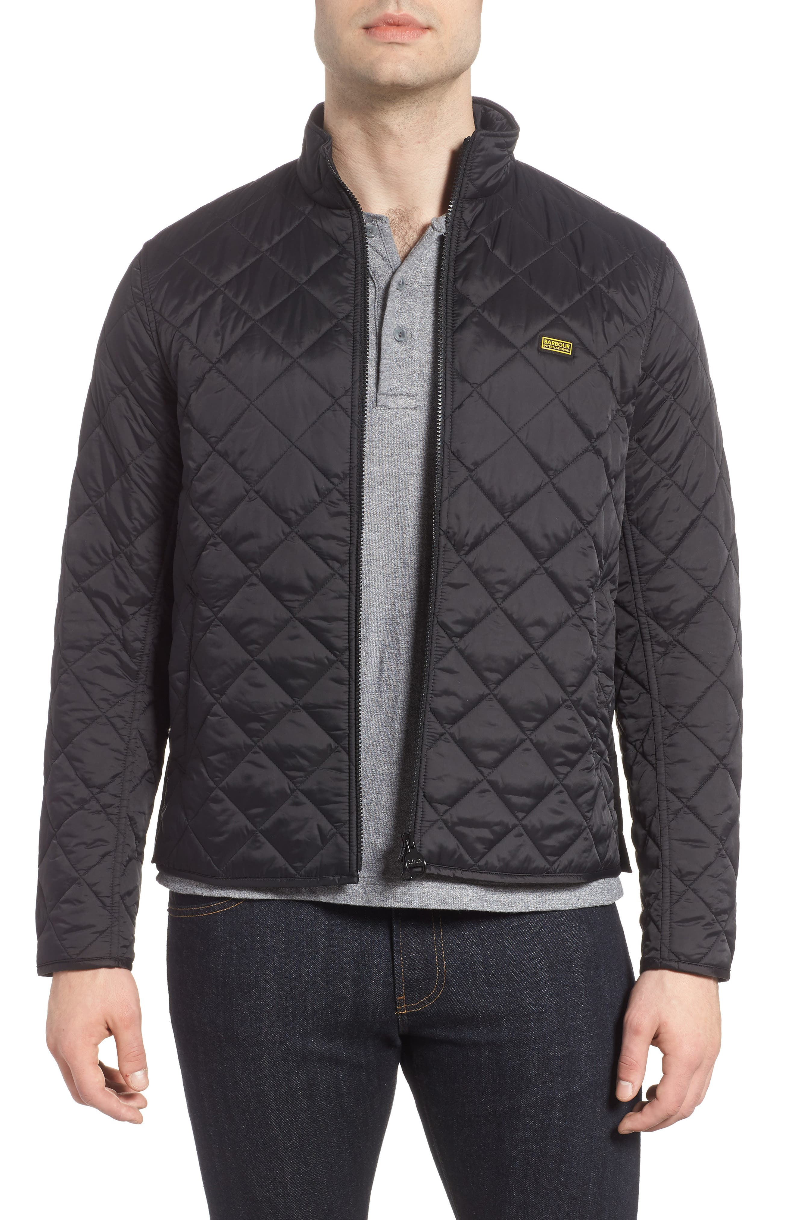 BARBOUR,                             Gear Quilted Jacket,                             Main thumbnail 1, color,                             BLACK