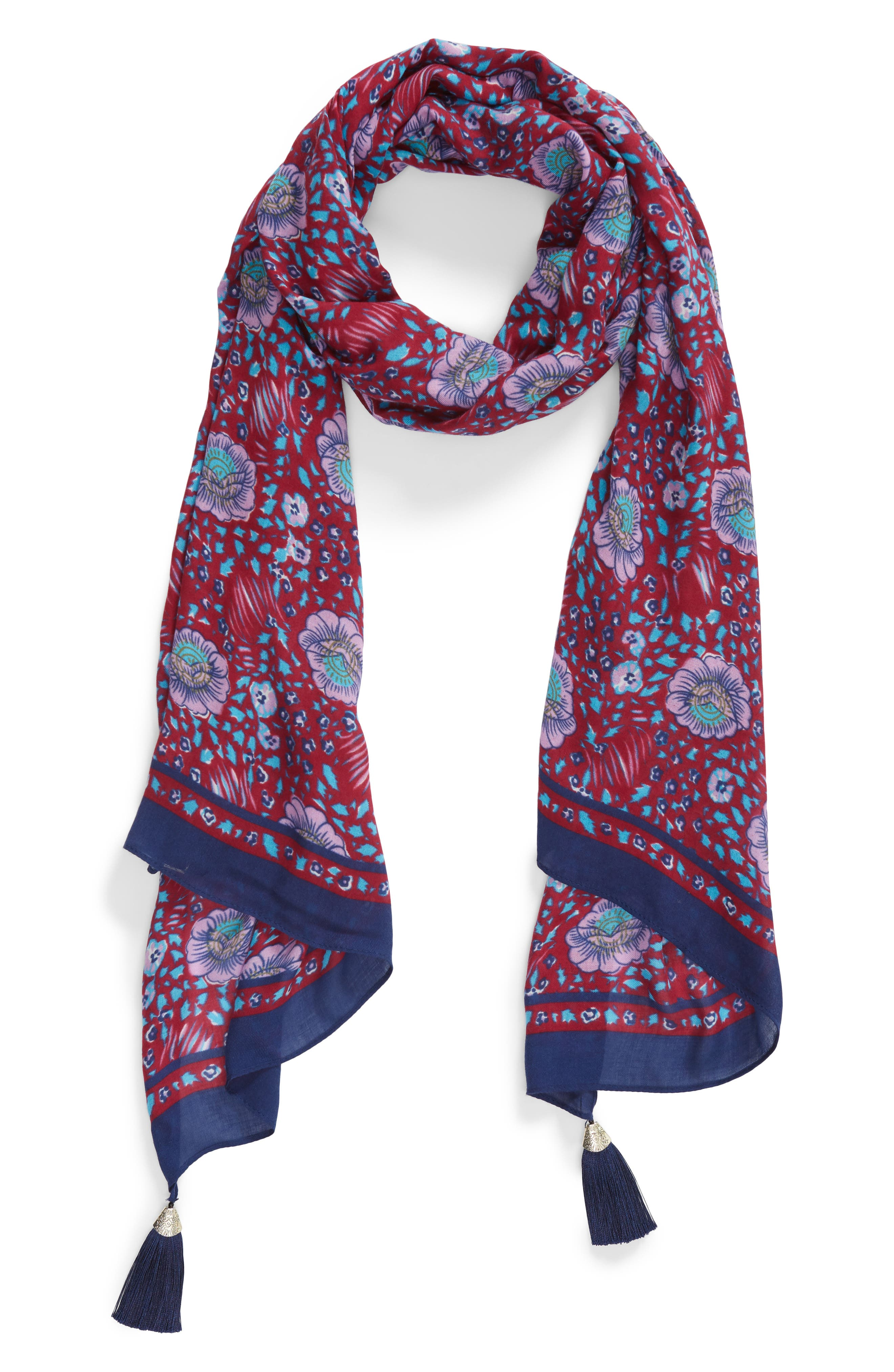 Persian Rose Oblong Scarf,                             Alternate thumbnail 2, color,                             RED