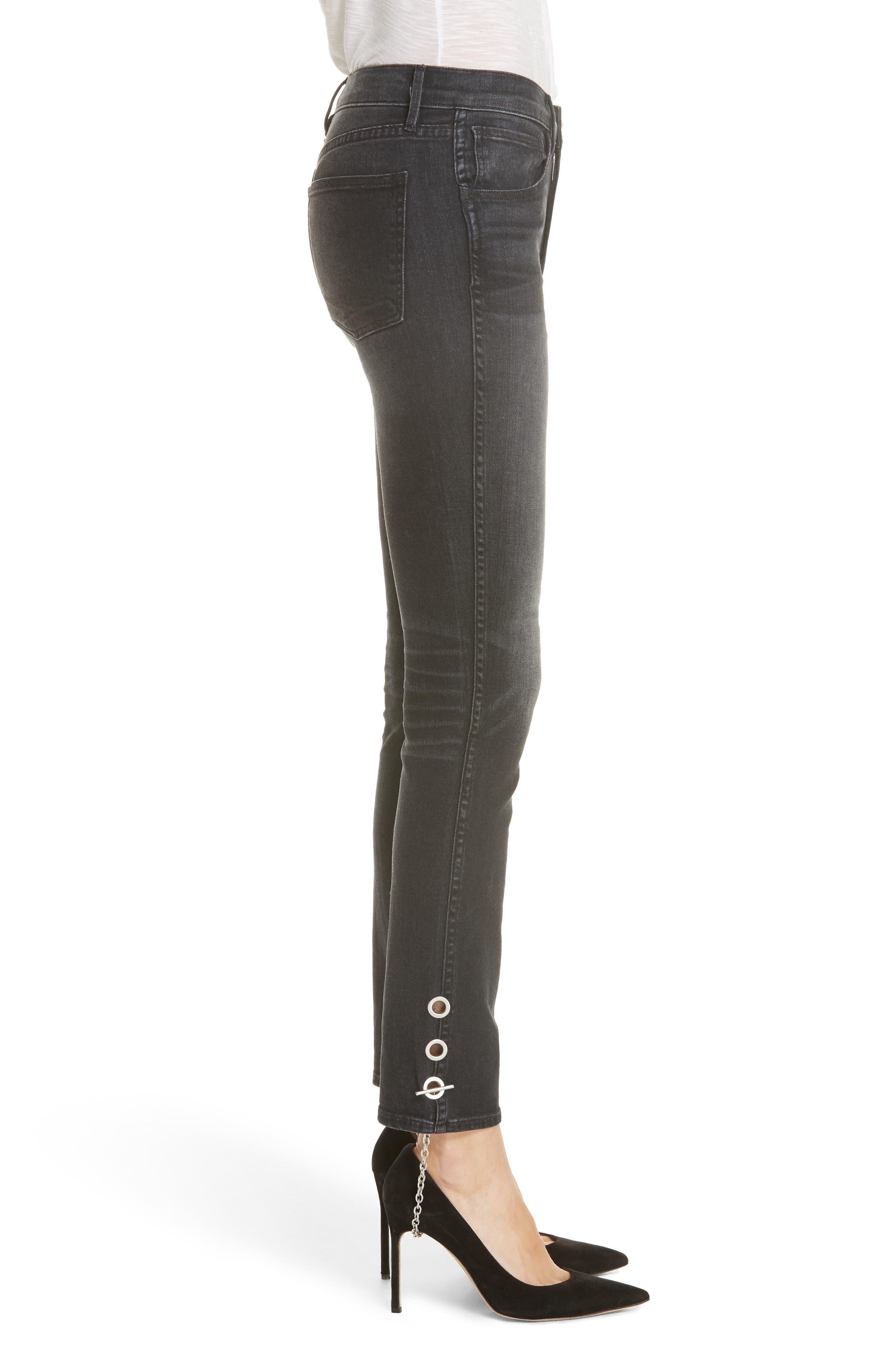 3X1 NYC,                             Bijou Chain Stirrup Ankle Skinny Jeans,                             Alternate thumbnail 3, color,                             004