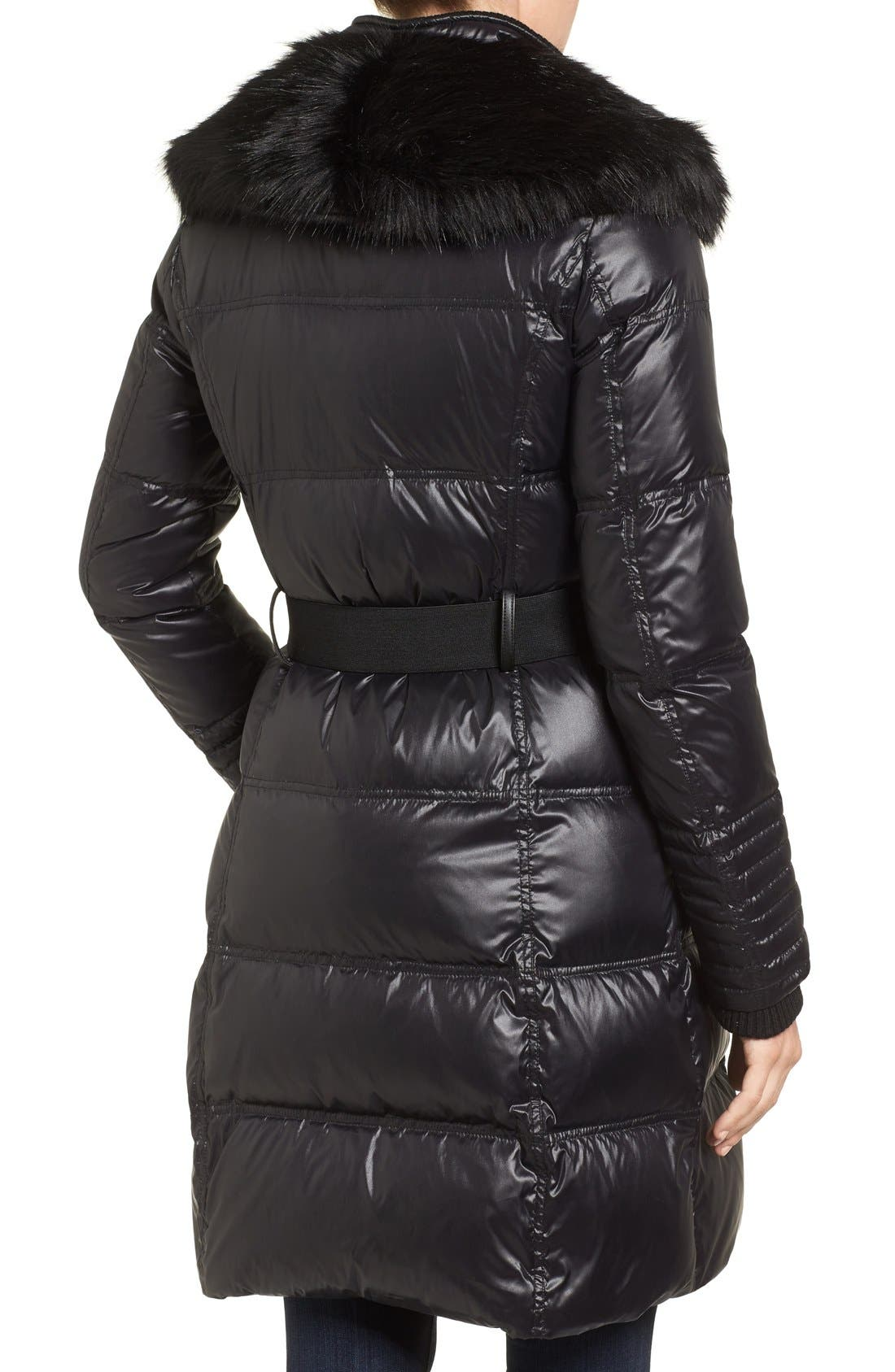 Quilted Coat with Faux Fur Trim,                             Alternate thumbnail 2, color,                             001