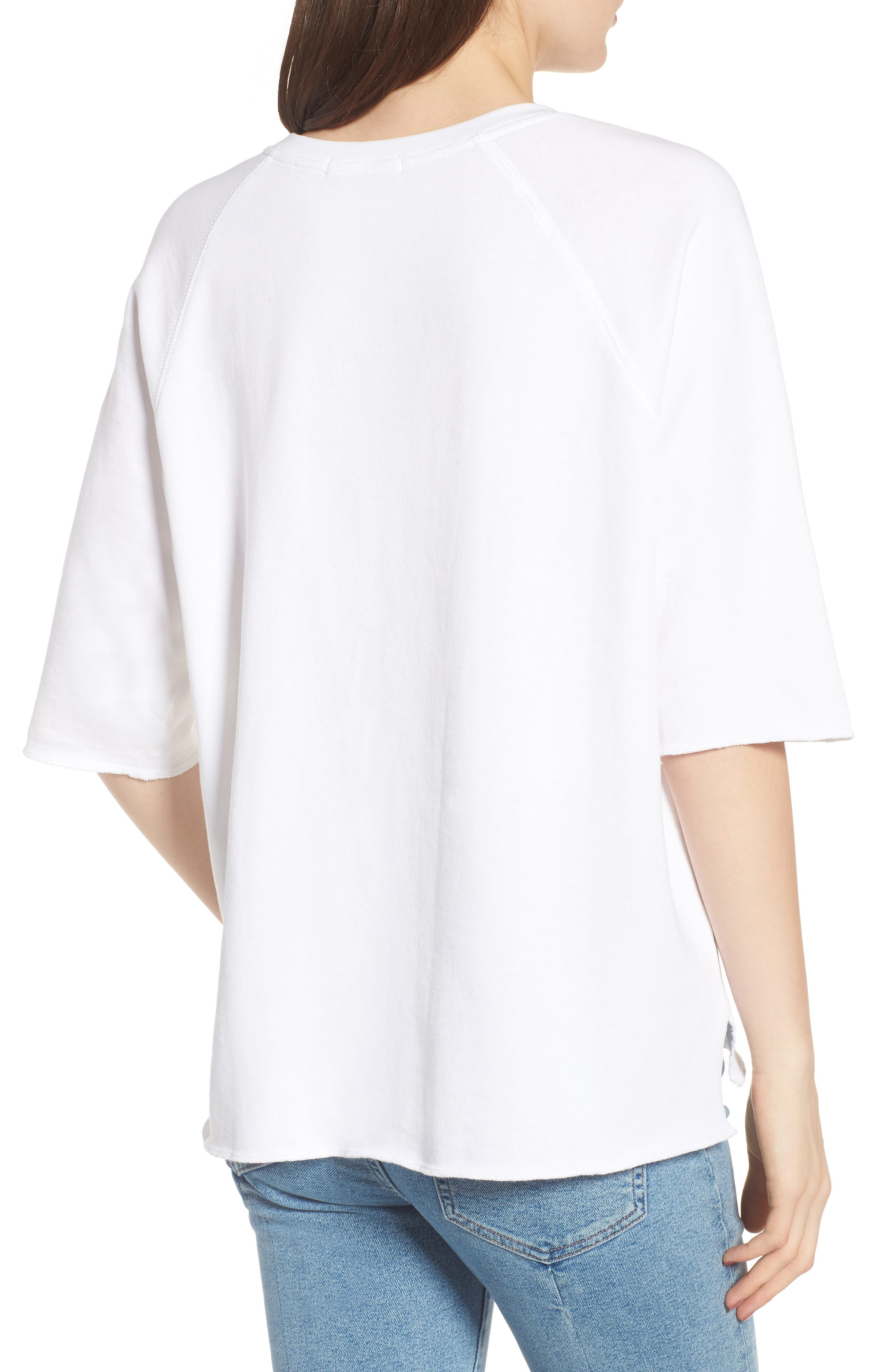 Julie - Vertical Eyelets Terry Top,                             Alternate thumbnail 2, color,                             WHITE