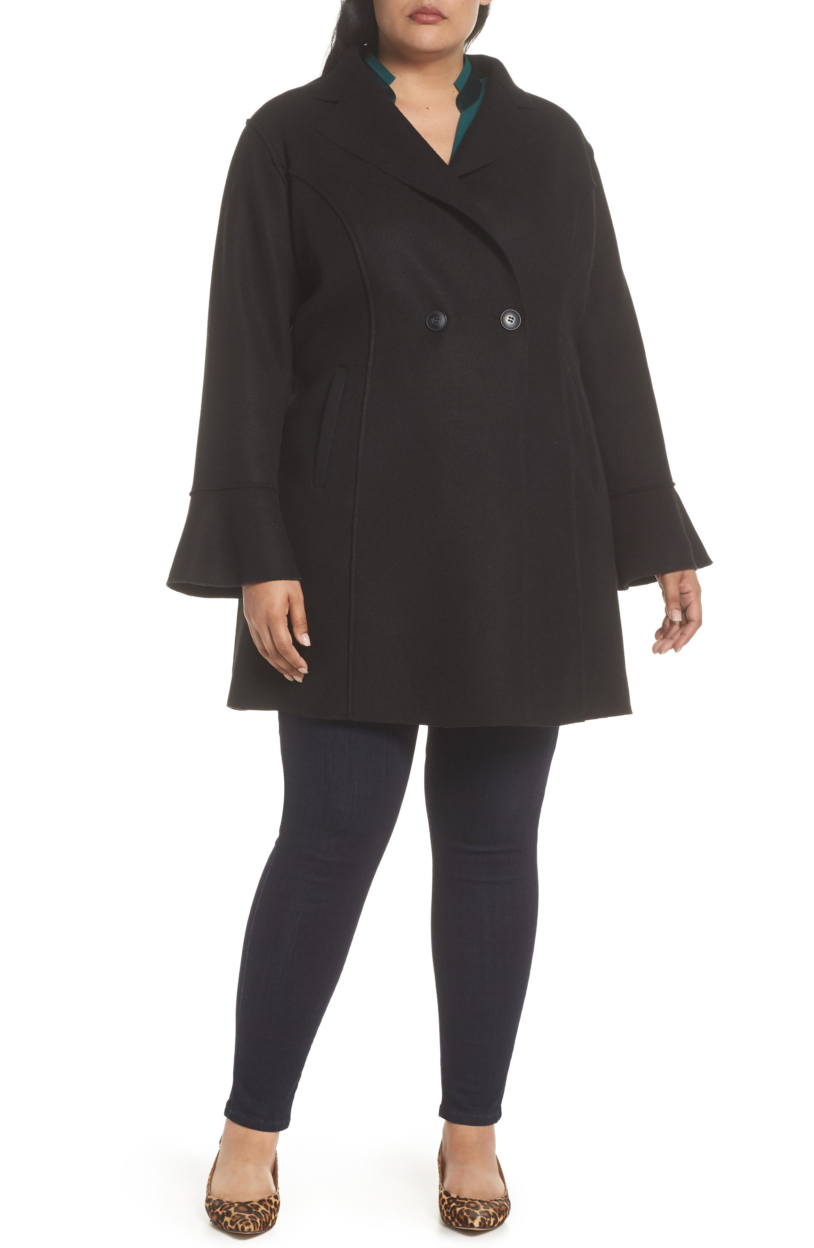 HALOGEN<SUP>®</SUP>,                             Raw Edge Bell Sleeve Coat,                             Alternate thumbnail 4, color,                             001