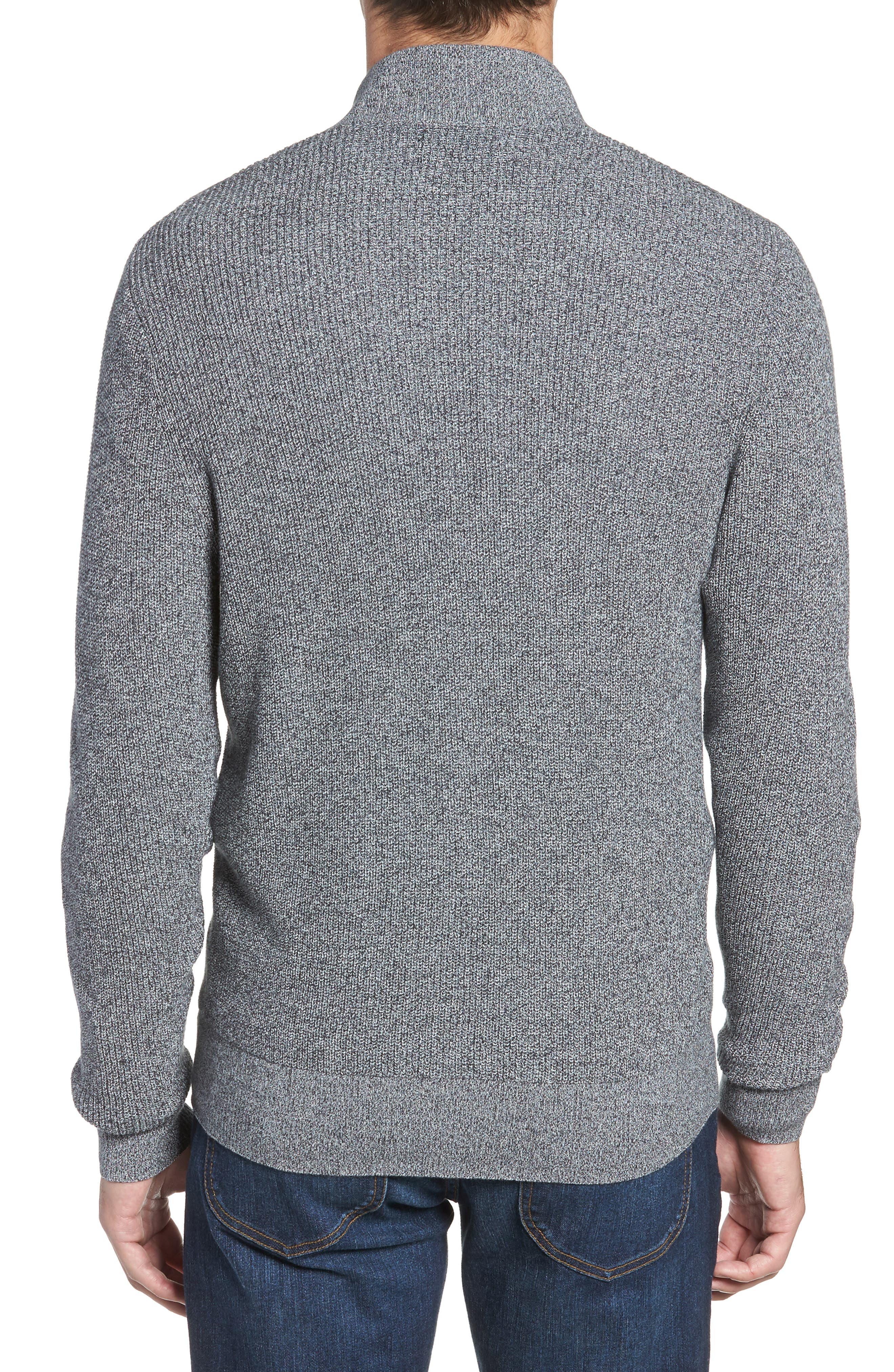 Marled Mock Neck Zip Sweater,                             Alternate thumbnail 2, color,                             BLACK IVORY MARL