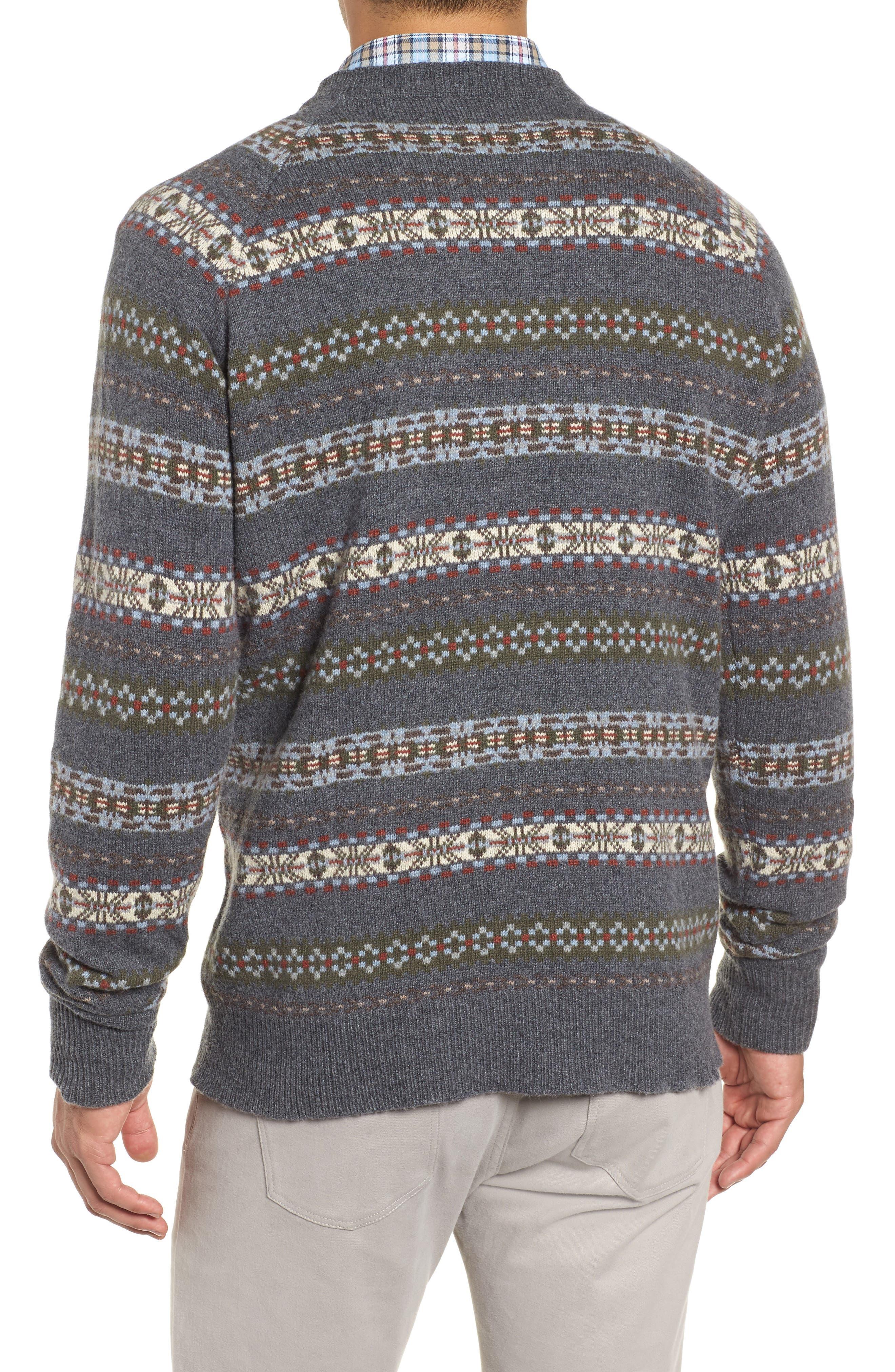 PETER MILLAR,                             Mountainside Fair Isle Crewneck Sweater,                             Alternate thumbnail 2, color,                             BLACK