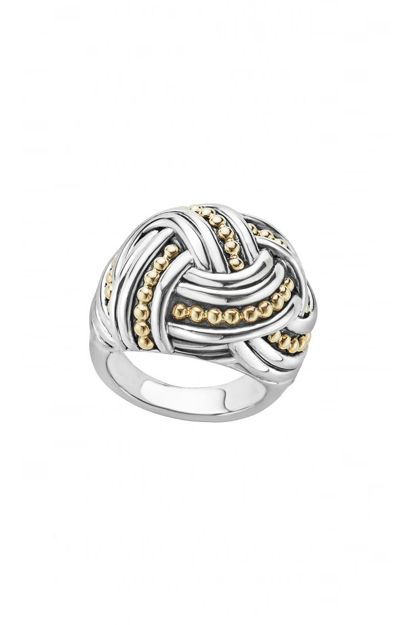 Torsade Large Rounded Rectangle Ring,                             Main thumbnail 1, color,                             SILVER/ GOLD