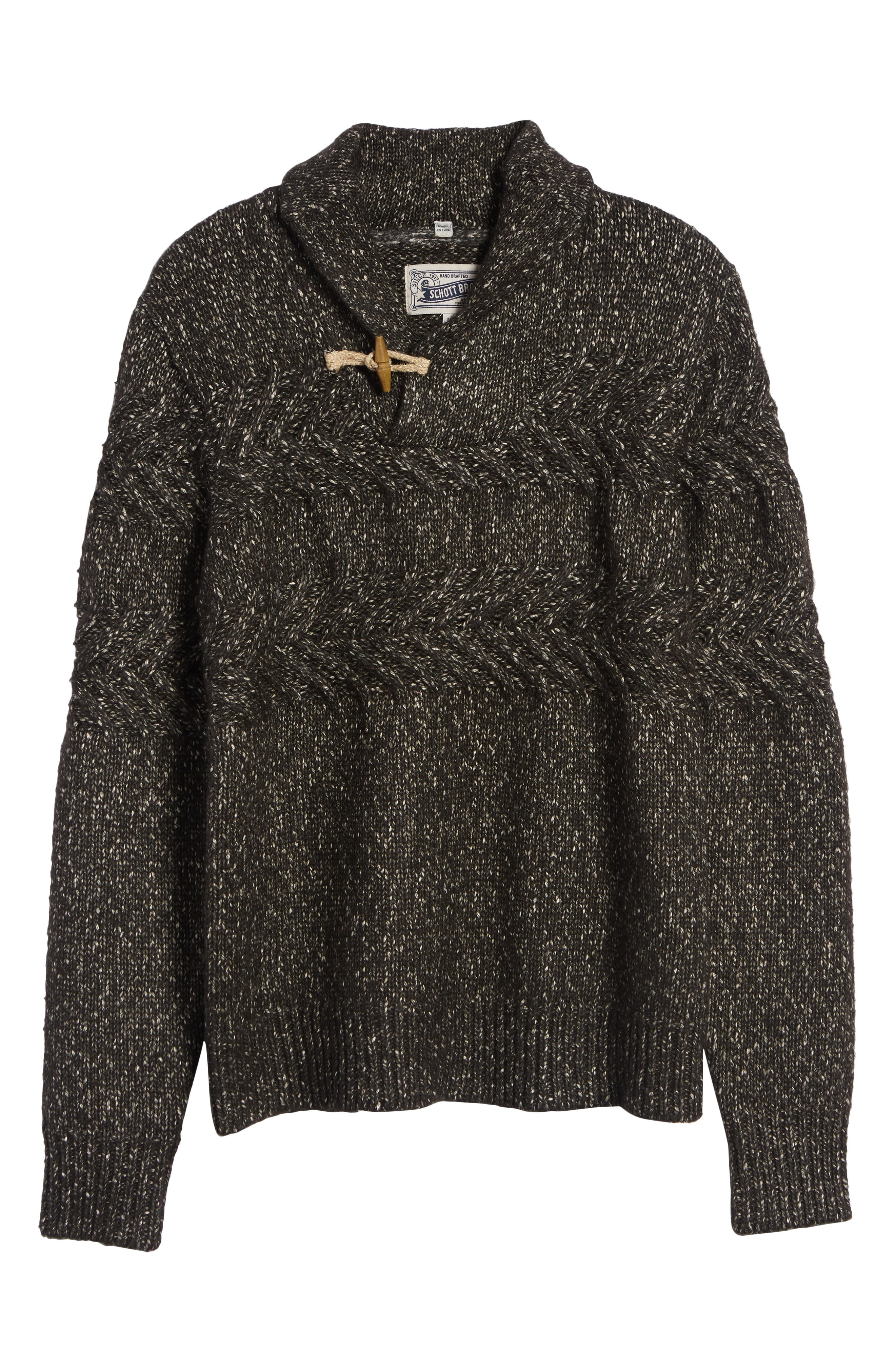 SCHOTT NYC,                             Heathered Shawl Collar Sweater,                             Alternate thumbnail 6, color,                             BLACK