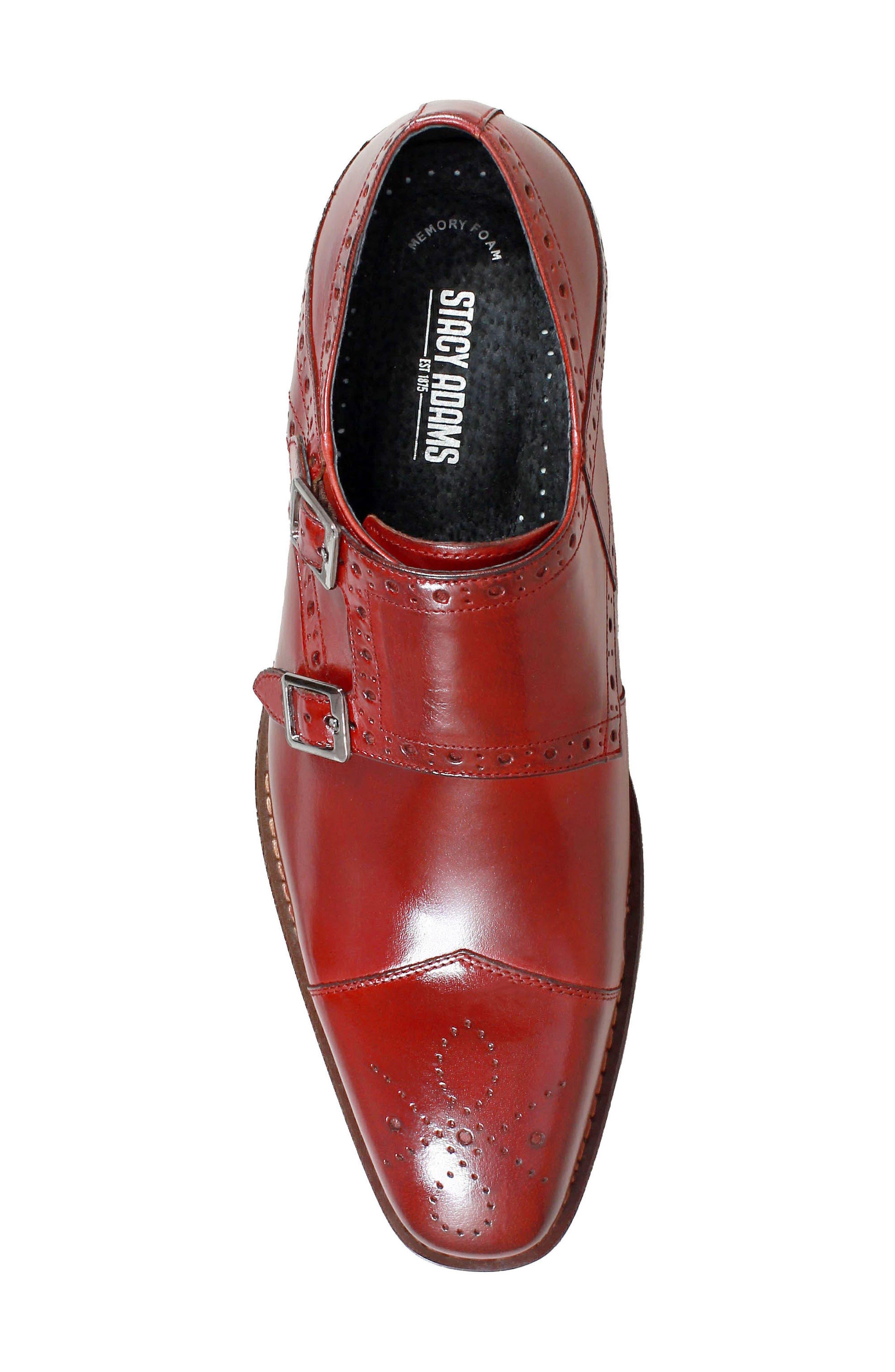 Tayton Cap Toe Double Strap Monk Shoe,                             Alternate thumbnail 5, color,                             RED LEATHER