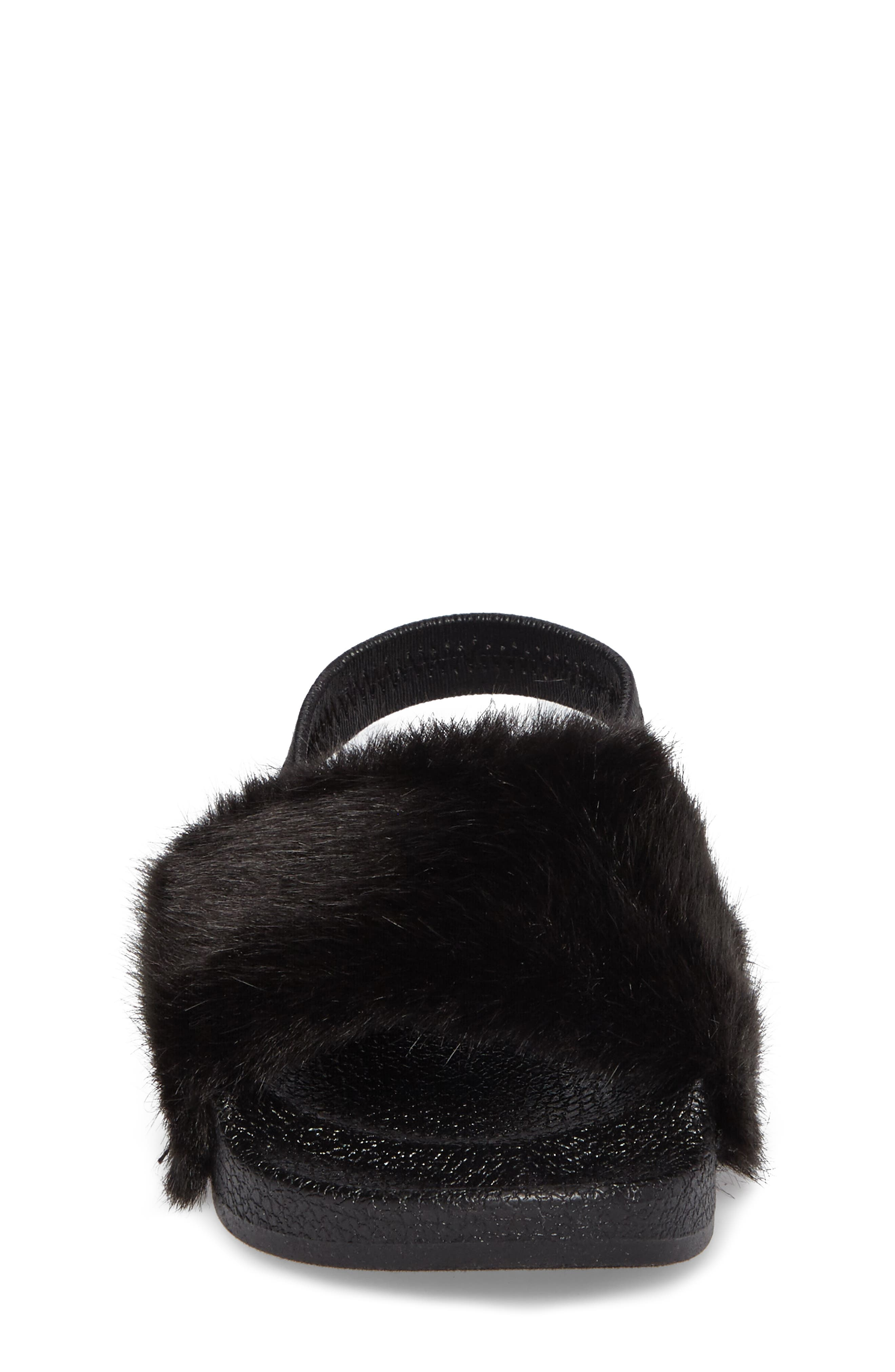 Tsoftey Faux Fur Slide Sandal,                             Alternate thumbnail 4, color,                             006