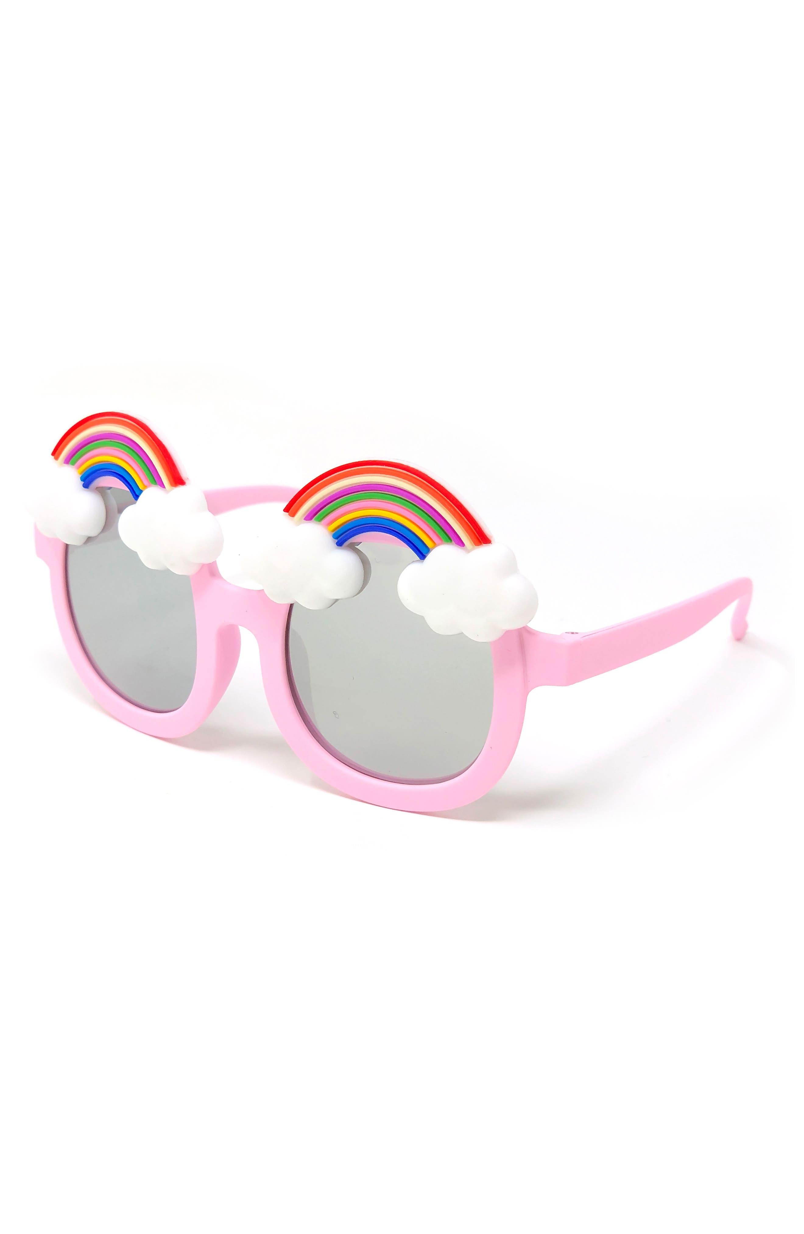 Rainbow Mirrored Sunglasses, Main, color, PINK