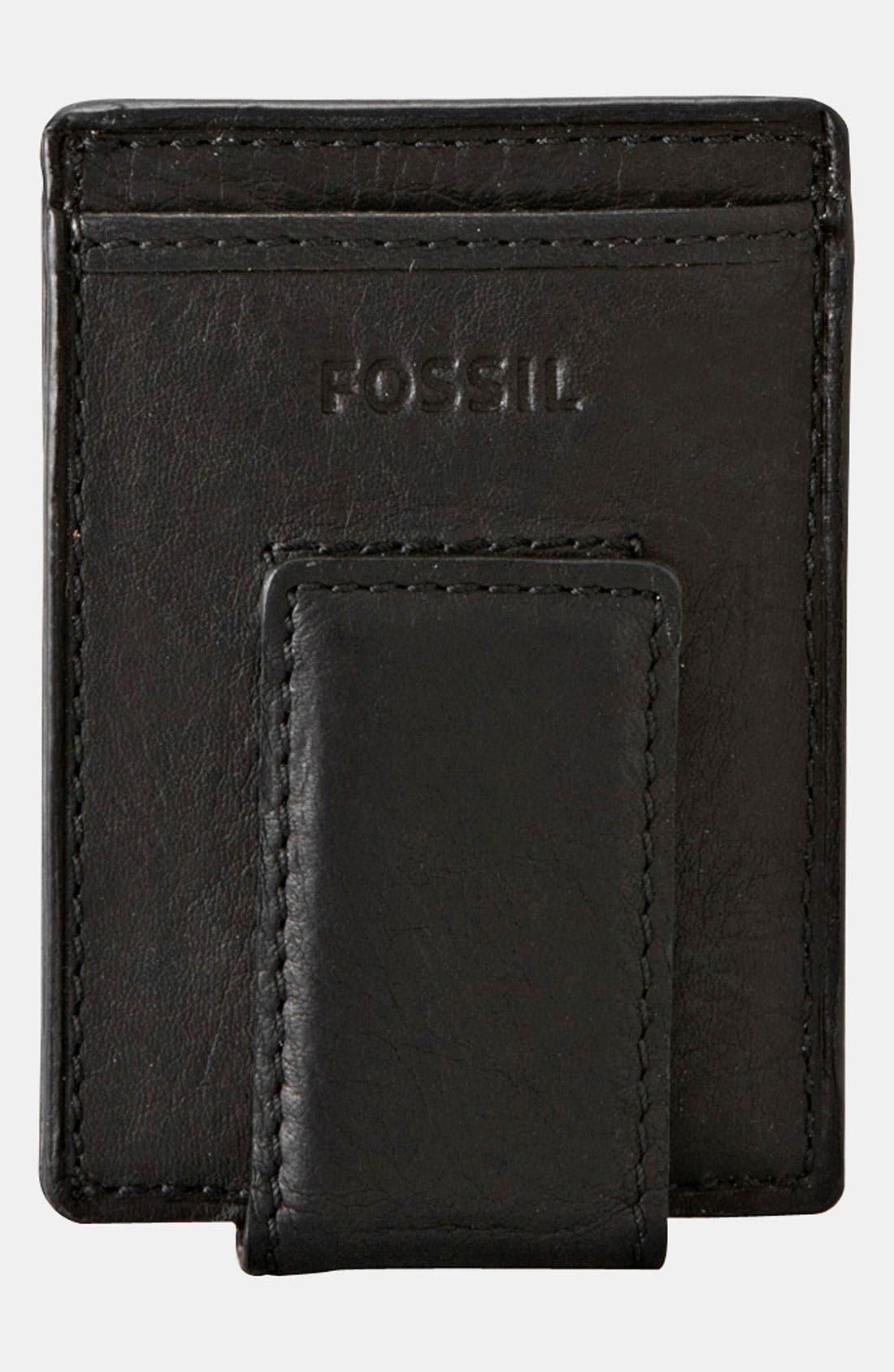 'Ingram' Leather Magnetic Money Clip Card Case,                             Main thumbnail 1, color,                             001