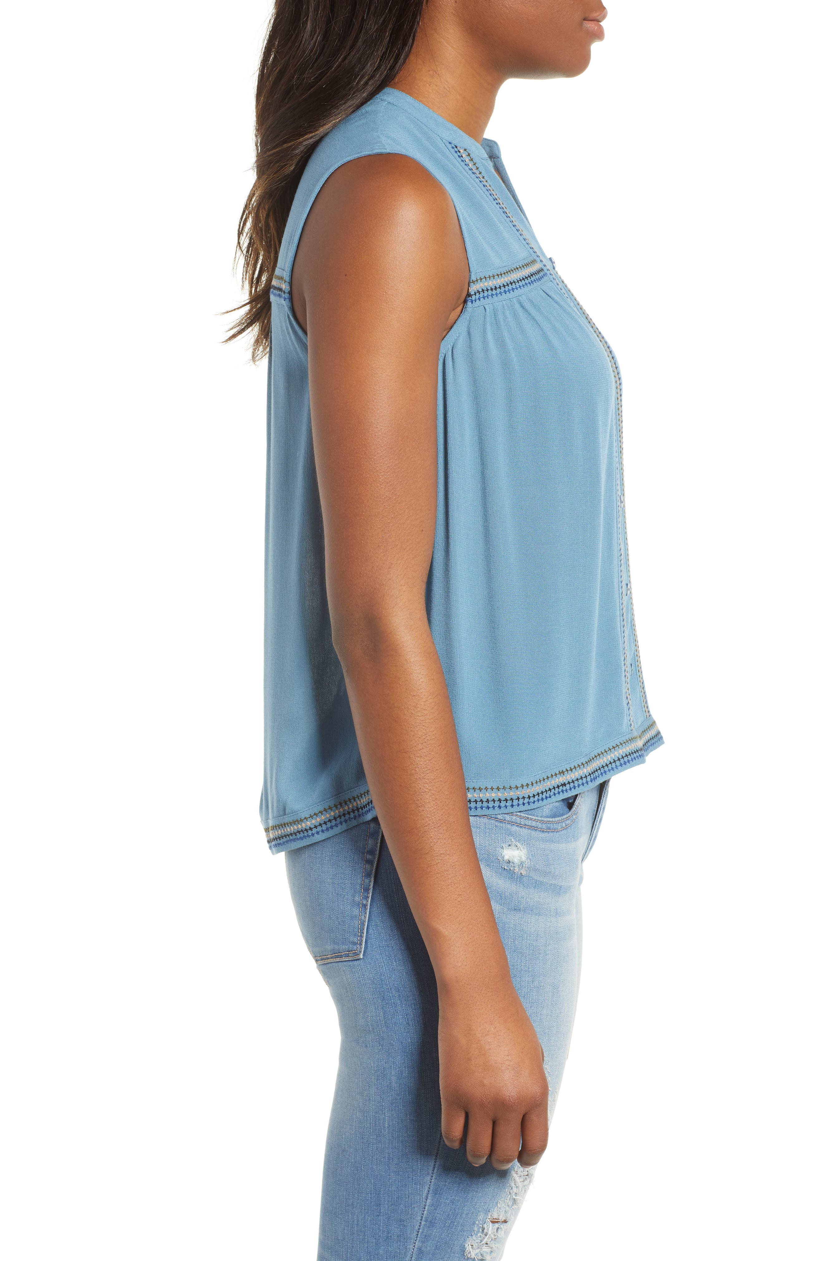Lucky Embroidered Tank Top,                             Alternate thumbnail 3, color,                             450