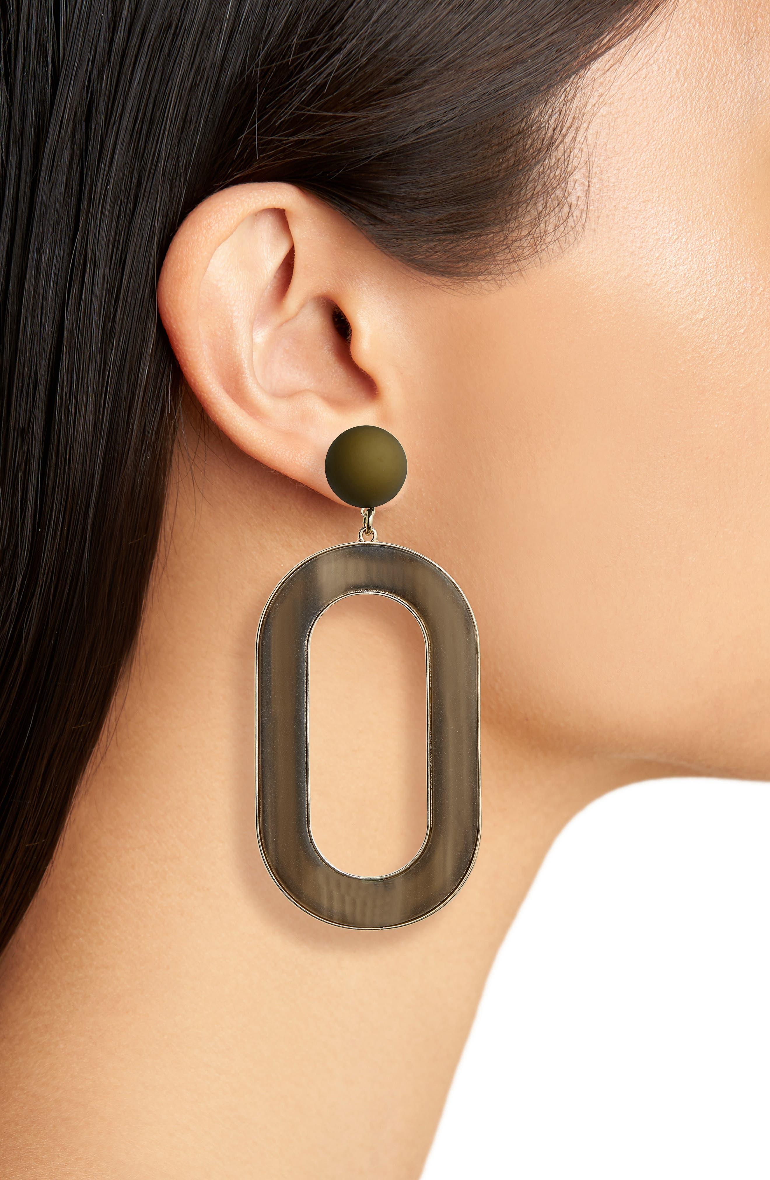 Resin & Metal Statement Earrings,                             Alternate thumbnail 2, color,                             300