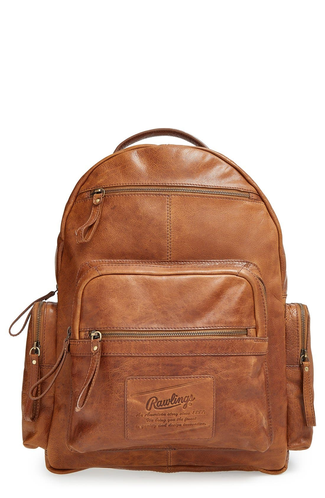 'Rugged' Leather Backpack,                             Main thumbnail 1, color,                             202