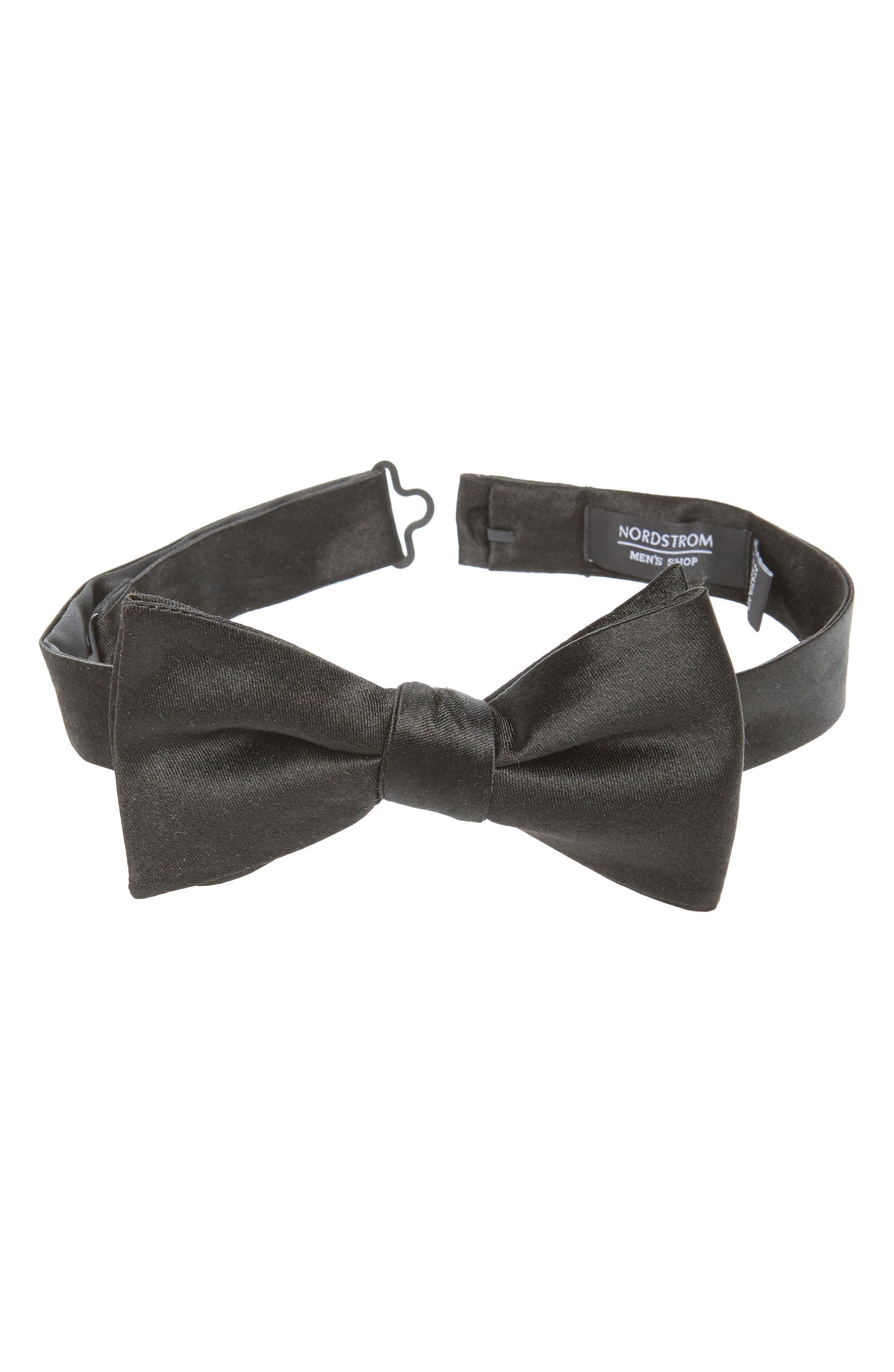 NORDSTROM MEN'S SHOP,                             Solid Silk Bow Tie,                             Main thumbnail 1, color,                             BLACK