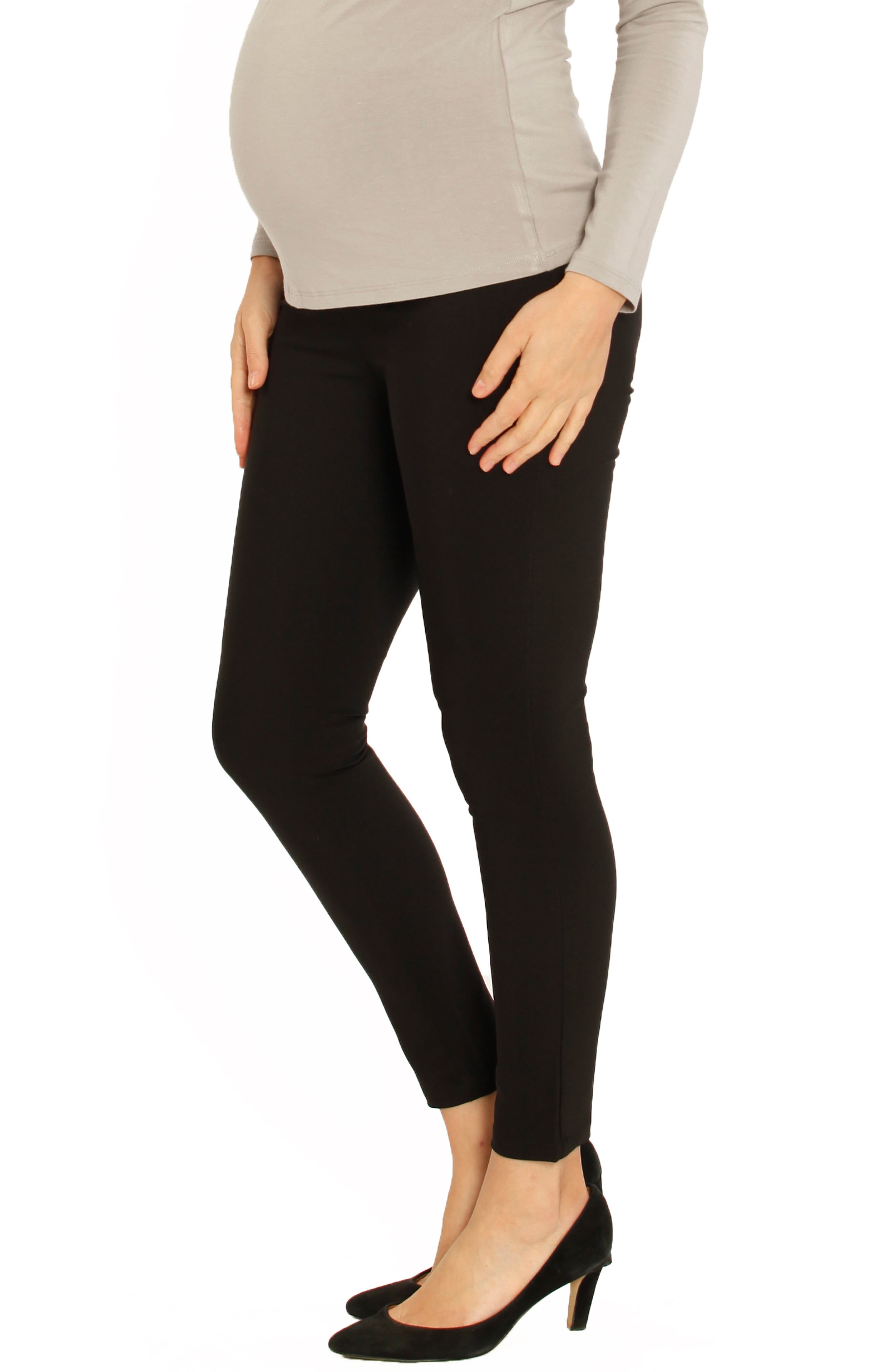 Fitted Straight Leg Maternity Pants,                         Main,                         color, BLACK