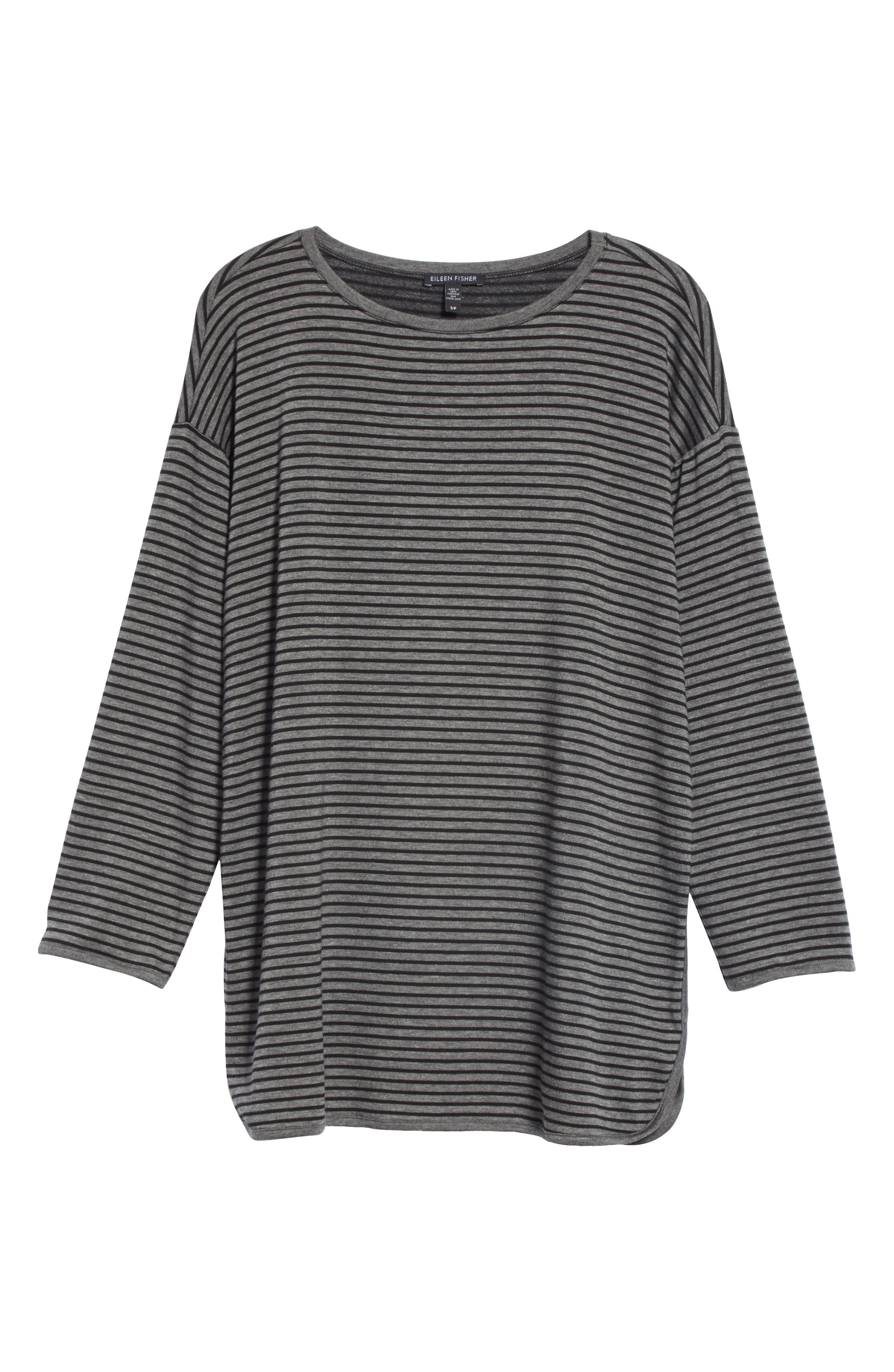 EILEEN FISHER, Stripe Terry Tunic, Alternate thumbnail 6, color, 091