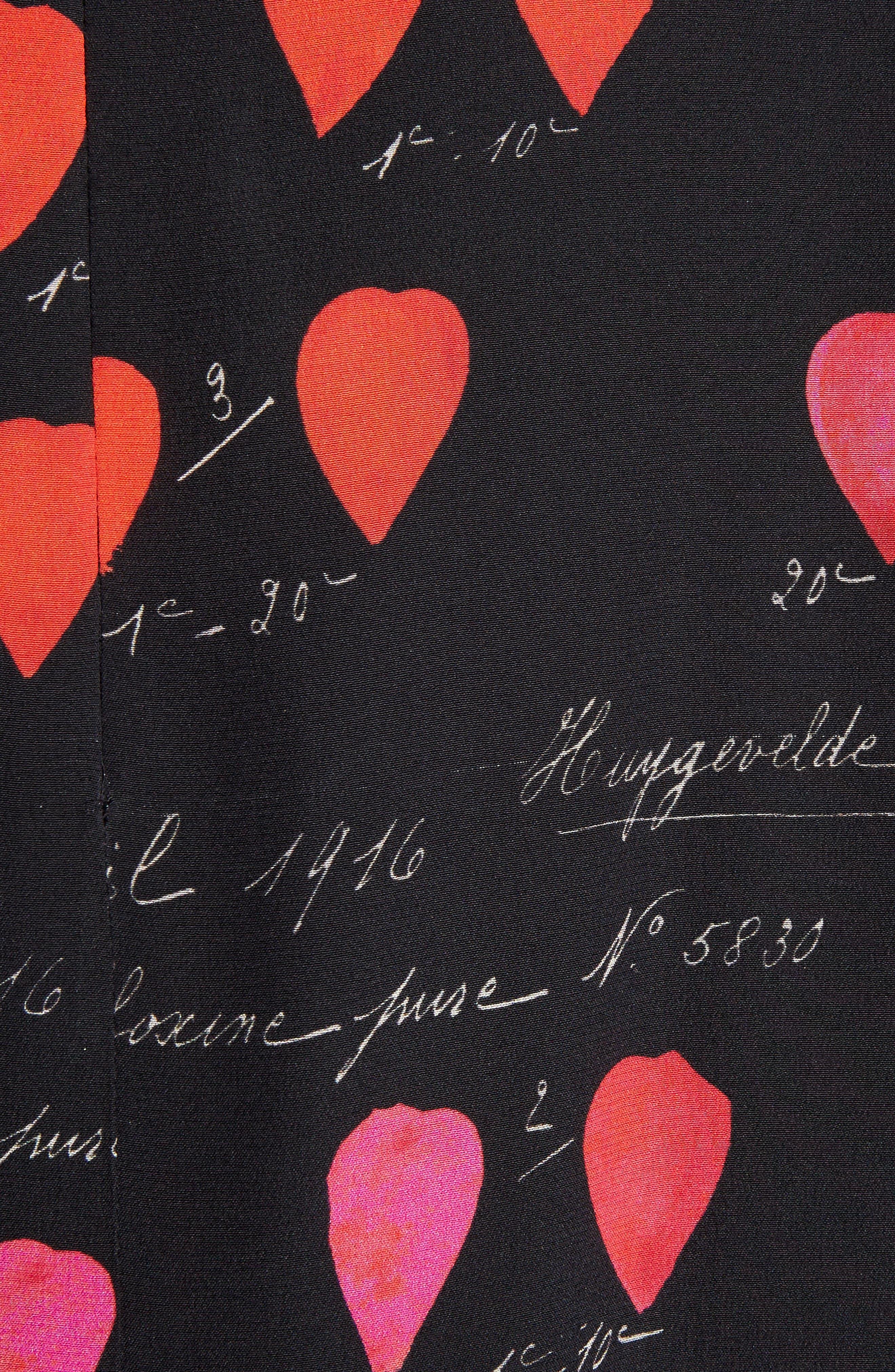 Petal Print Silk Ruffle Dress,                             Alternate thumbnail 5, color,                             007