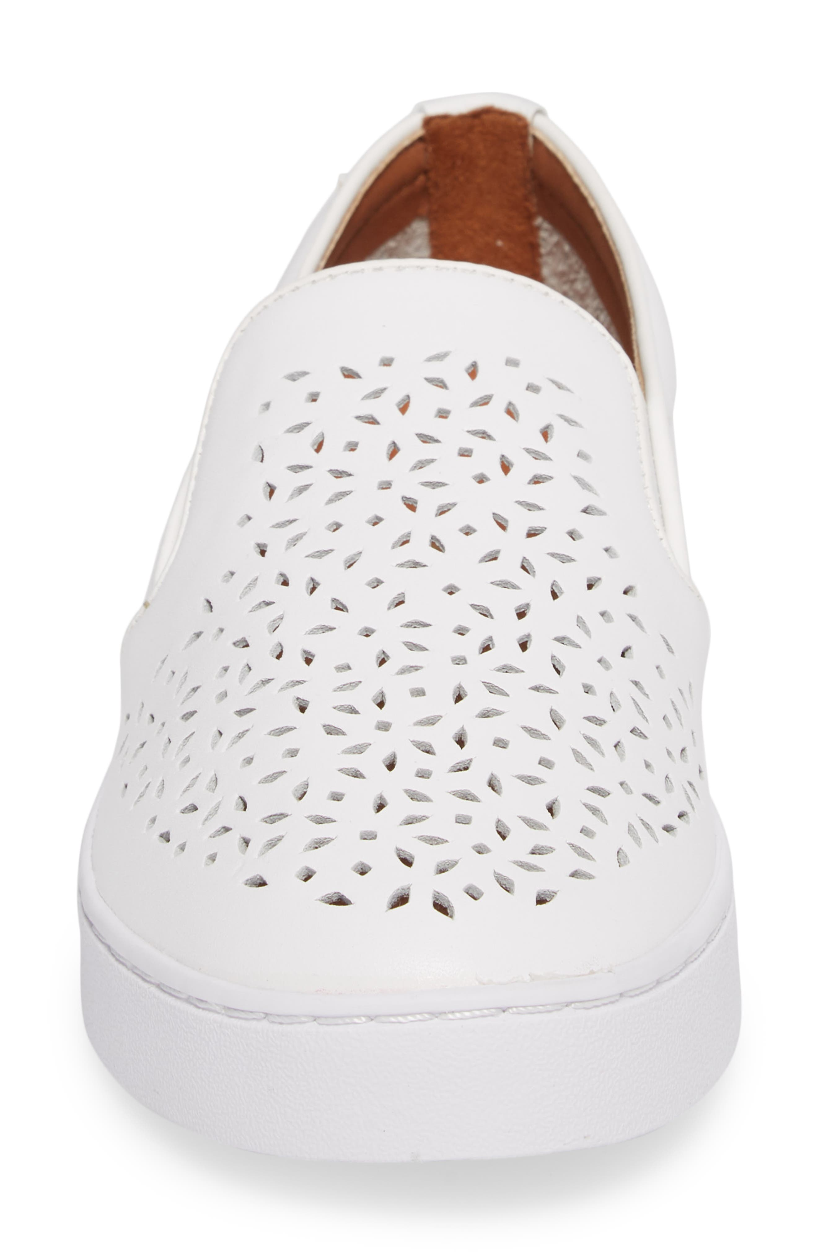 Perforated Slip-On Sneaker,                             Alternate thumbnail 4, color,                             WHITE LEATHER