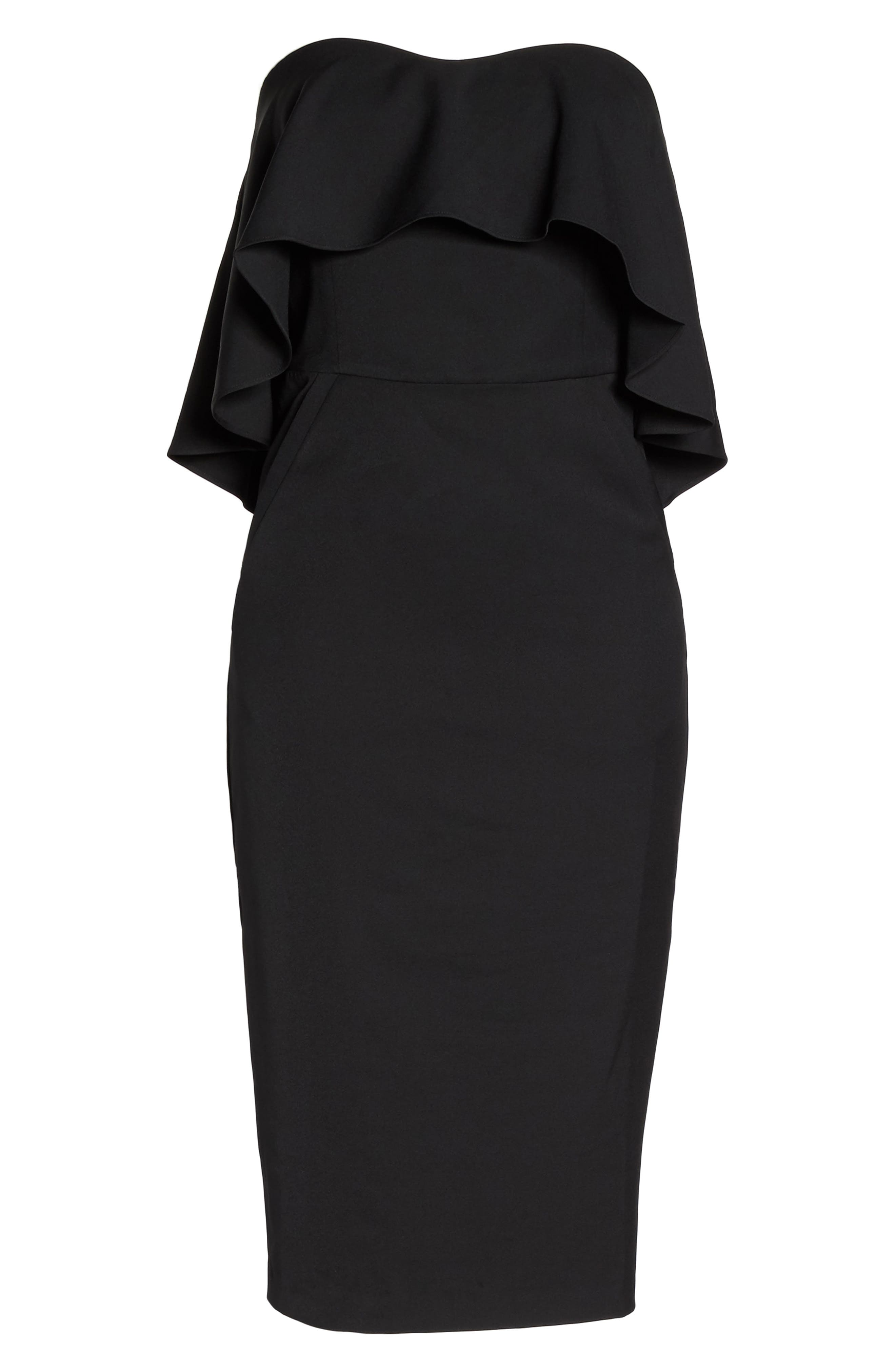 Ruffle Stretch Crepe Sheath Dress,                             Main thumbnail 1, color,                             001