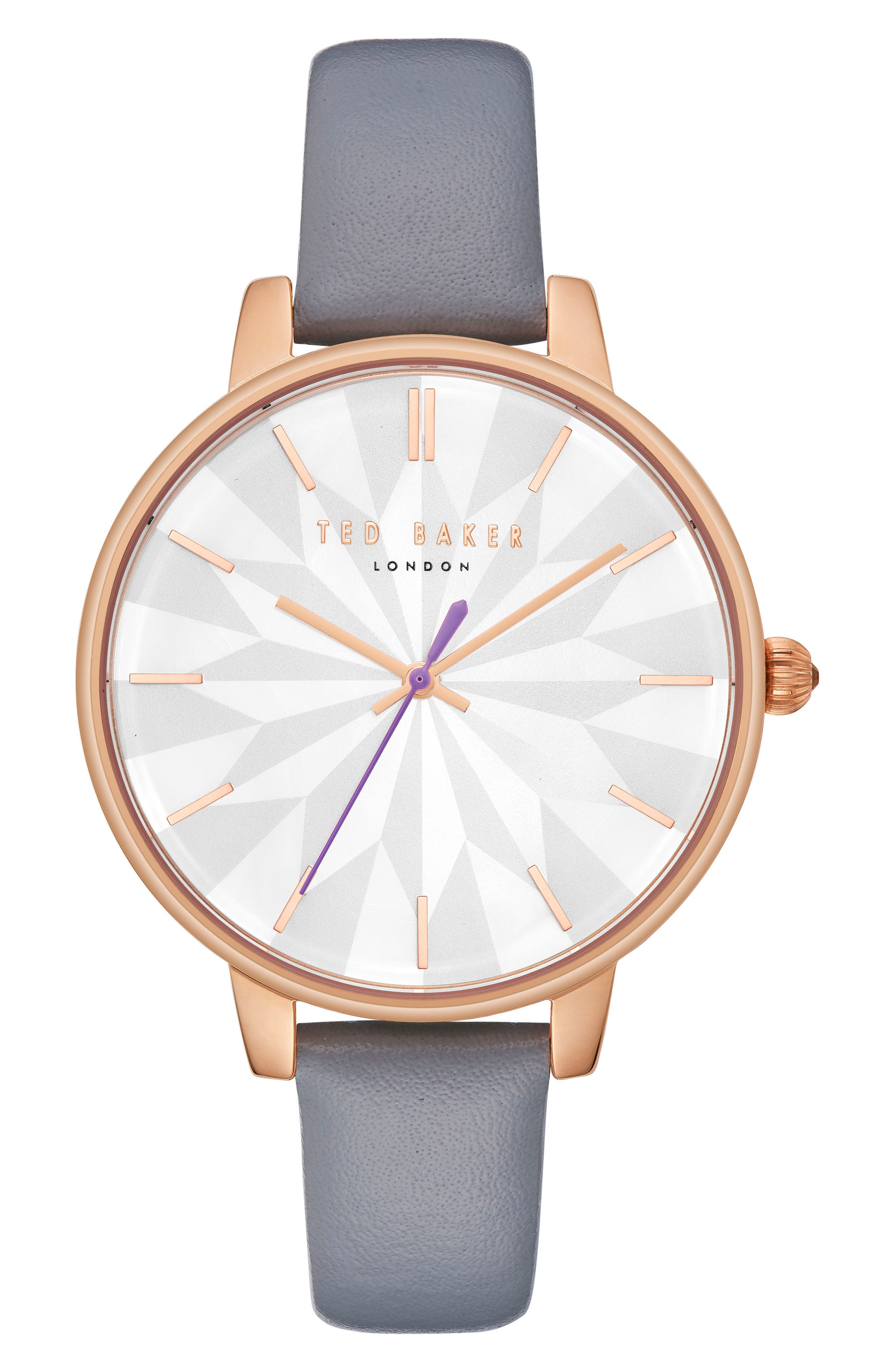 Kate Leather Strap Watch, 38mm,                             Main thumbnail 1, color,                             GREY/ MOP/ ROSE GOLD