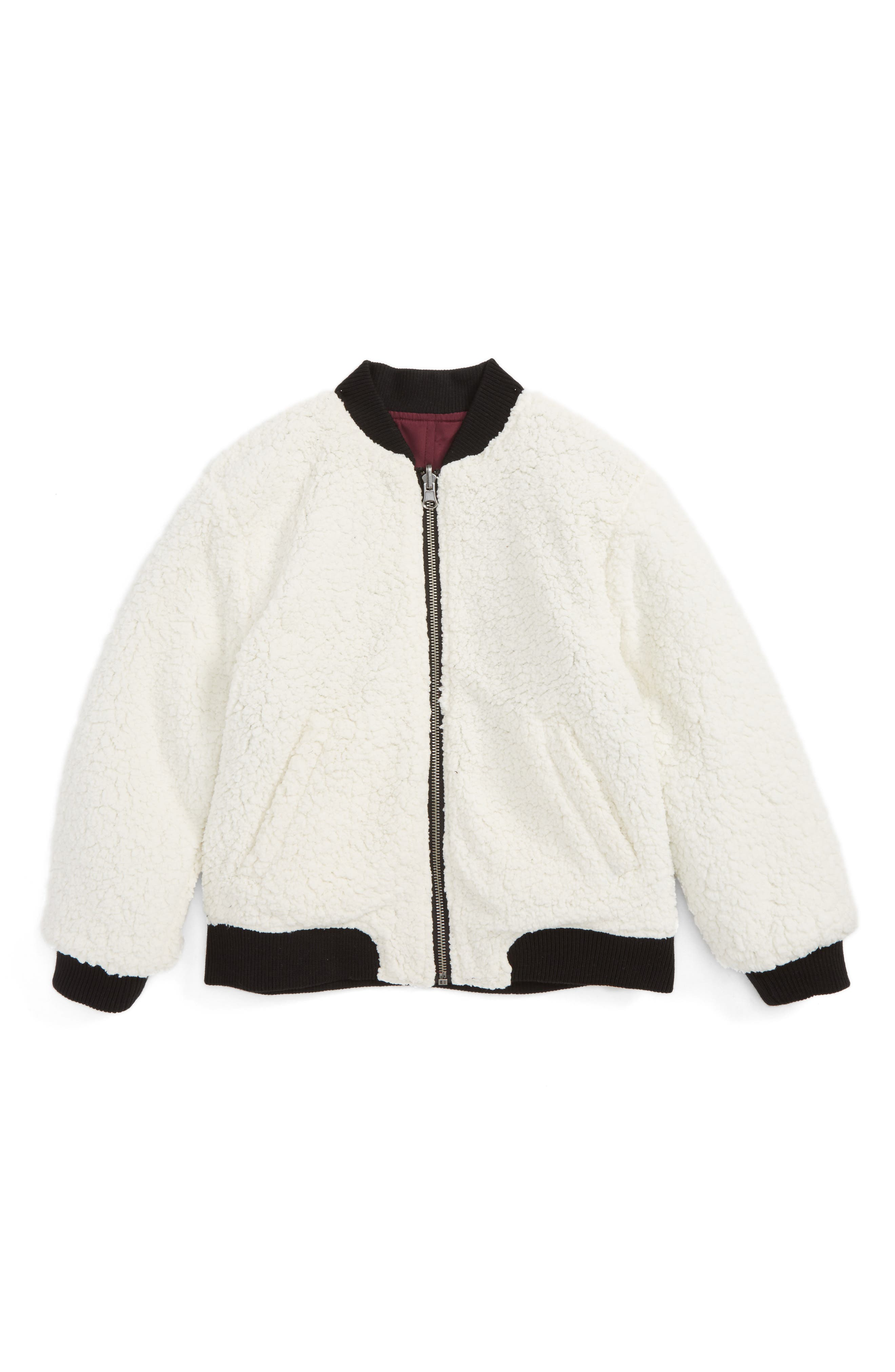 Patches & Faux Shearling Reversible Bomber Jacket,                             Alternate thumbnail 2, color,                             931